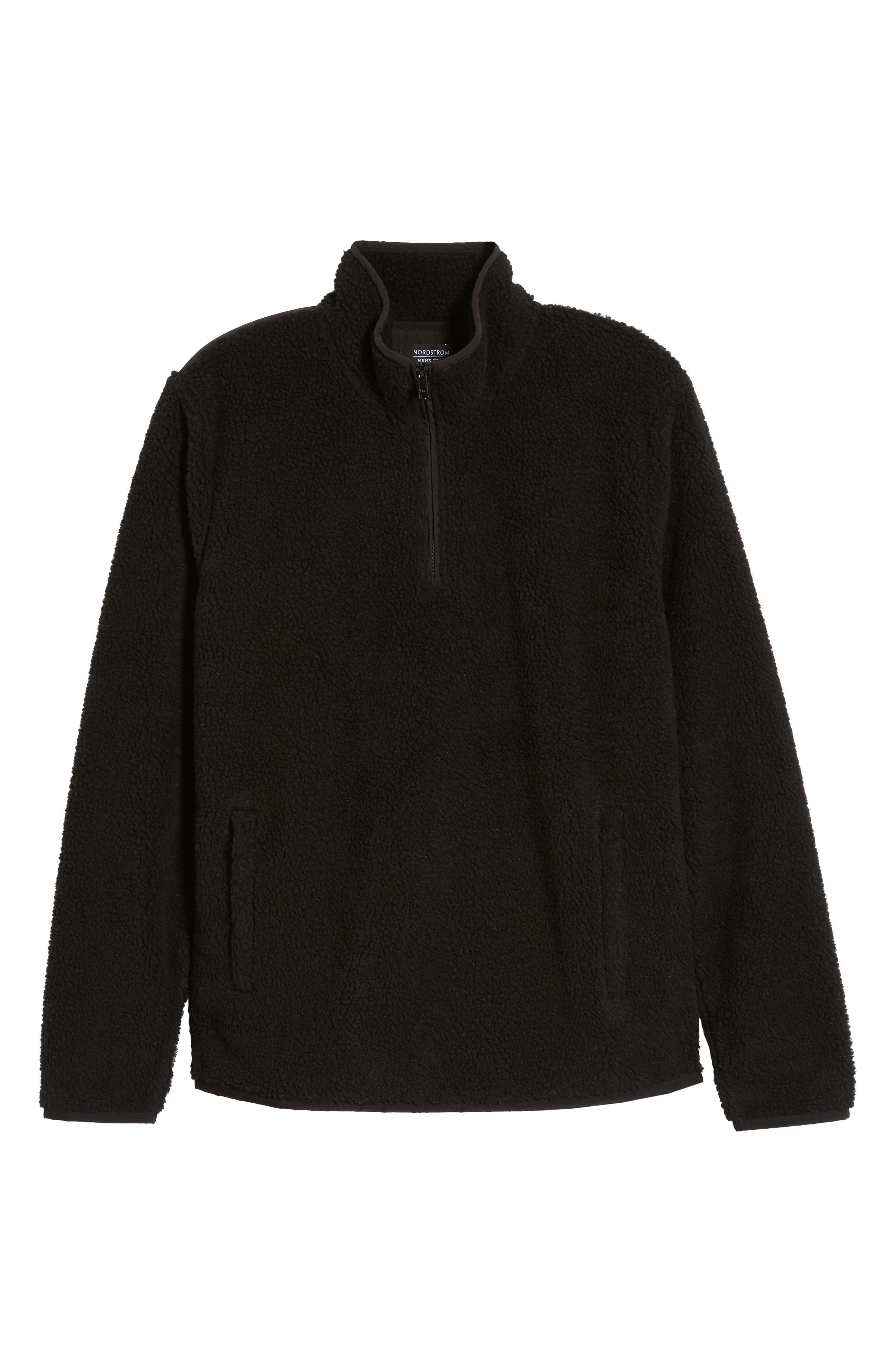 Quarter Zip Fleece Pullover,                             Alternate thumbnail 7, color,                             BLACK CAVIAR