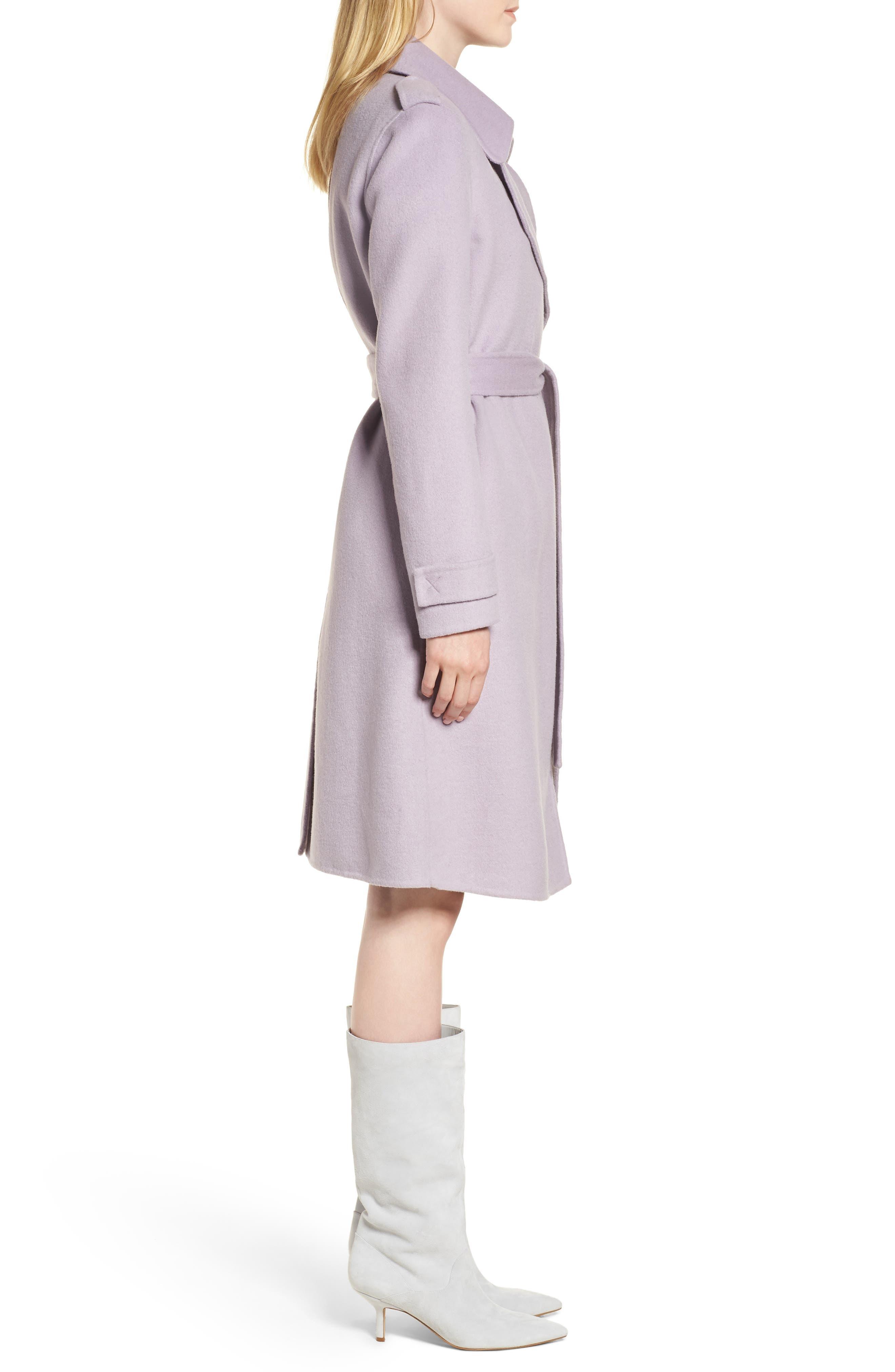 Double Face Wool Blend Wrap Front Coat,                             Alternate thumbnail 3, color,                             LAVENDER