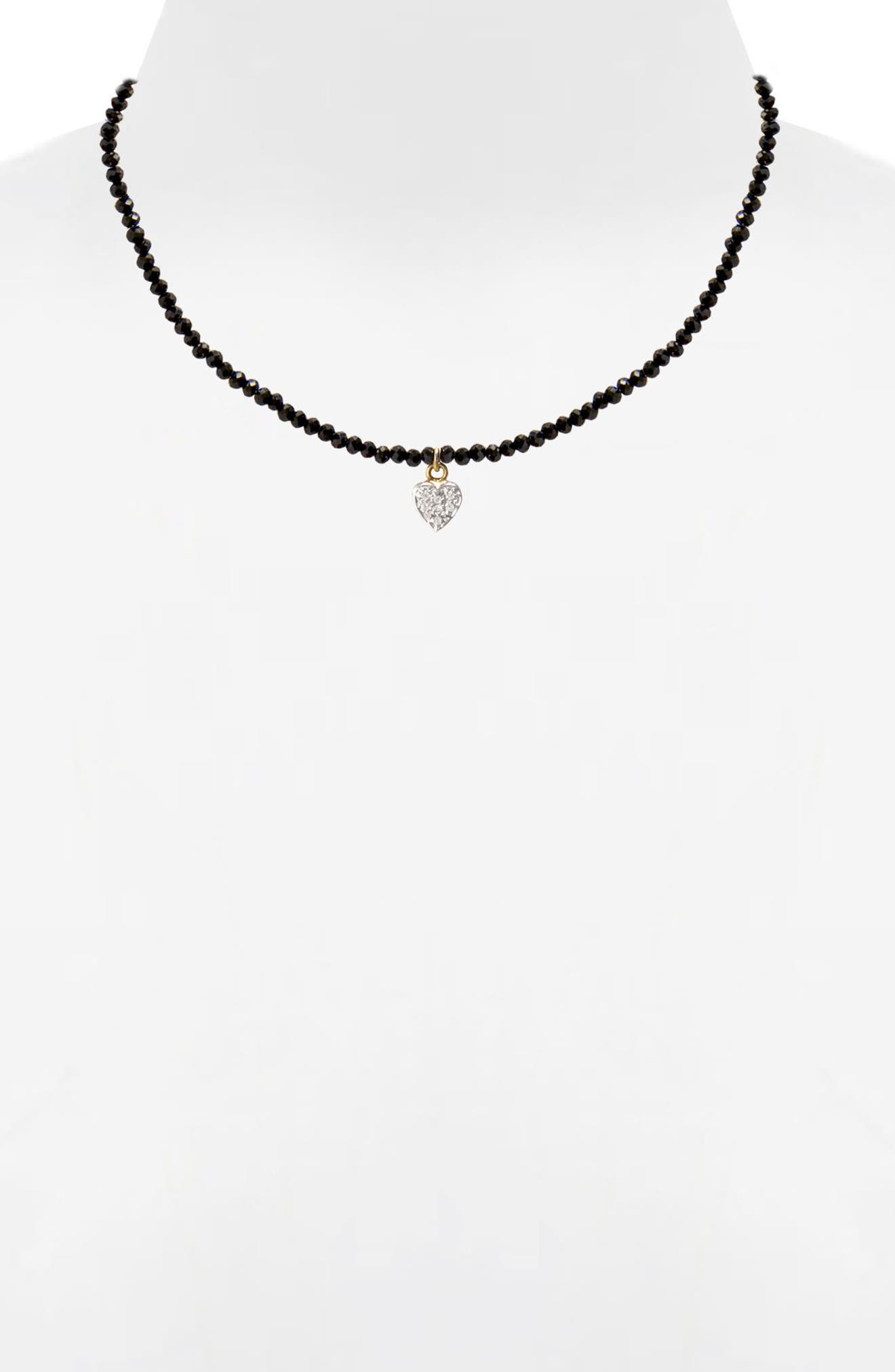 Jane Basch Diamond Heart Pendant Necklace,                             Alternate thumbnail 2, color,                             BLACK ONYX