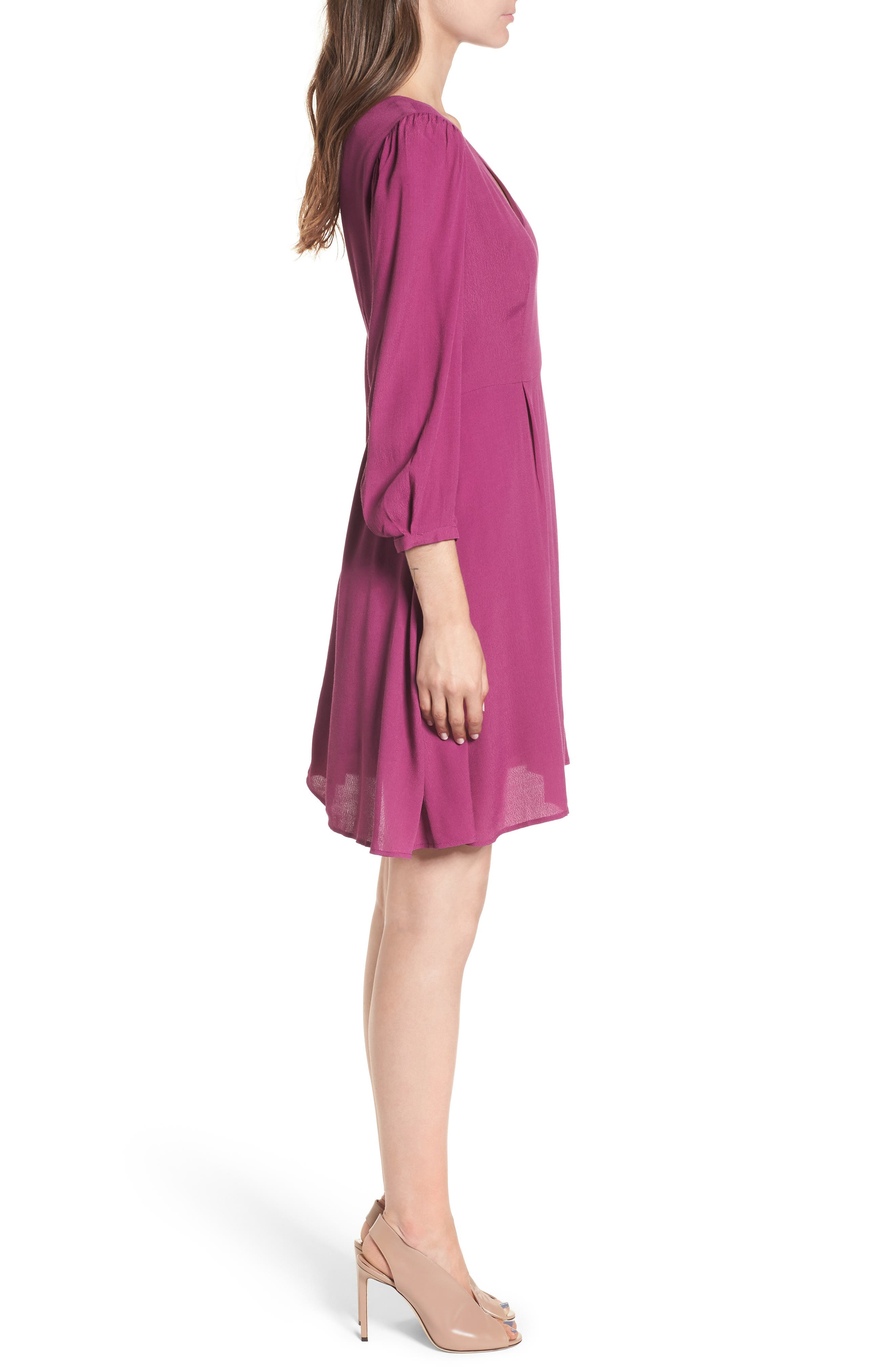 V-Neck Puff Sleeve Dress,                             Alternate thumbnail 3, color,                             510