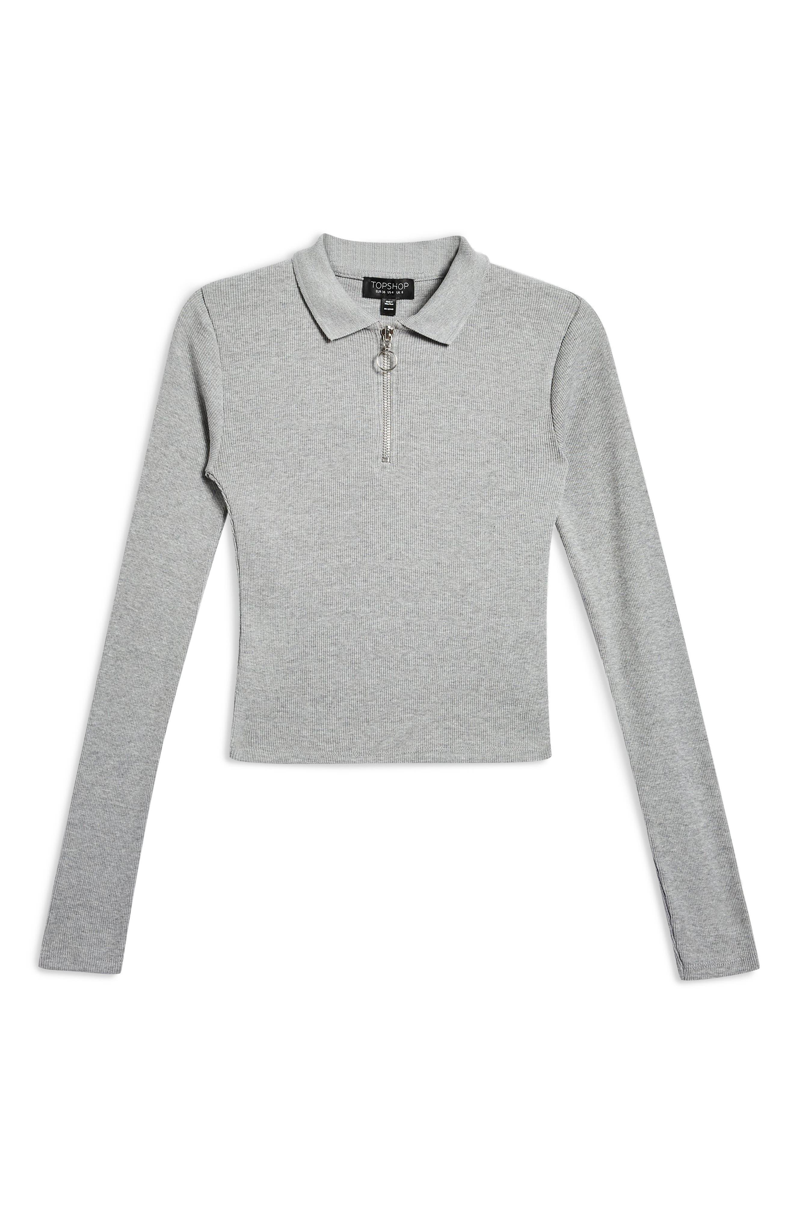 Front Zip Polo Shirt,                             Alternate thumbnail 3, color,                             GREY MARL