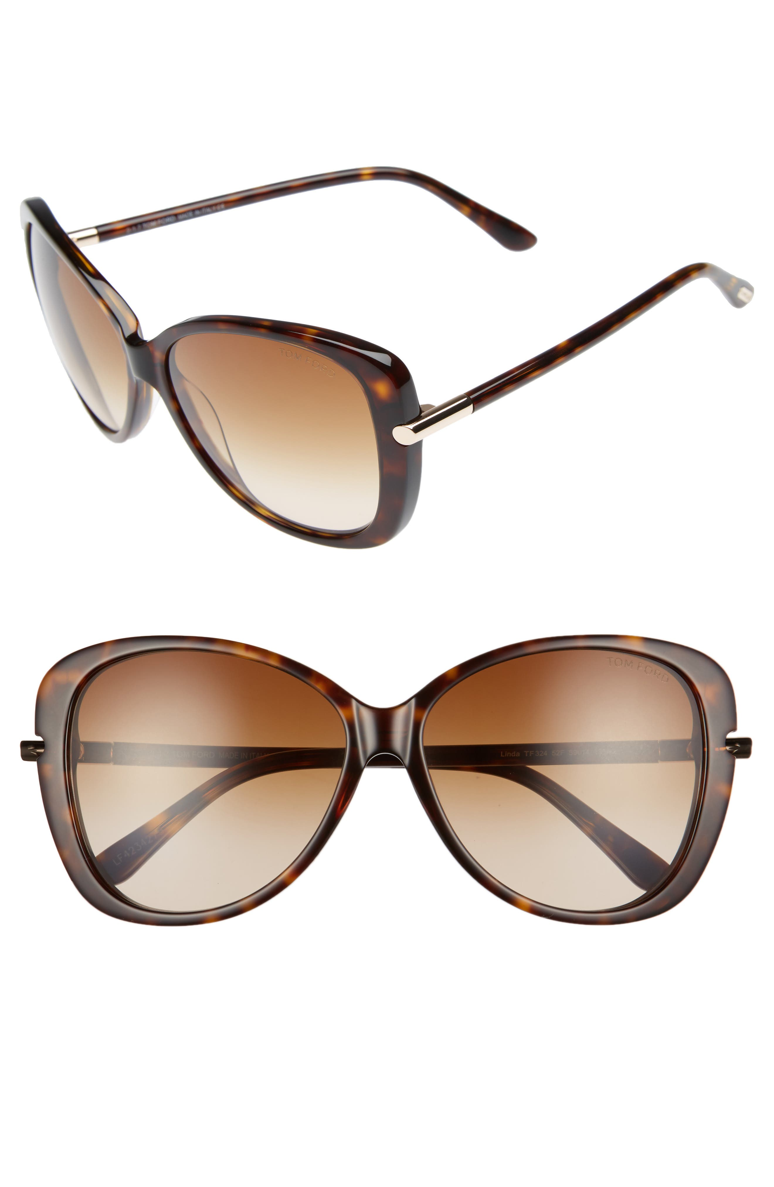 TOM FORD Linda 59mm Gradient Butterfly Sunglasses, Main, color, 200