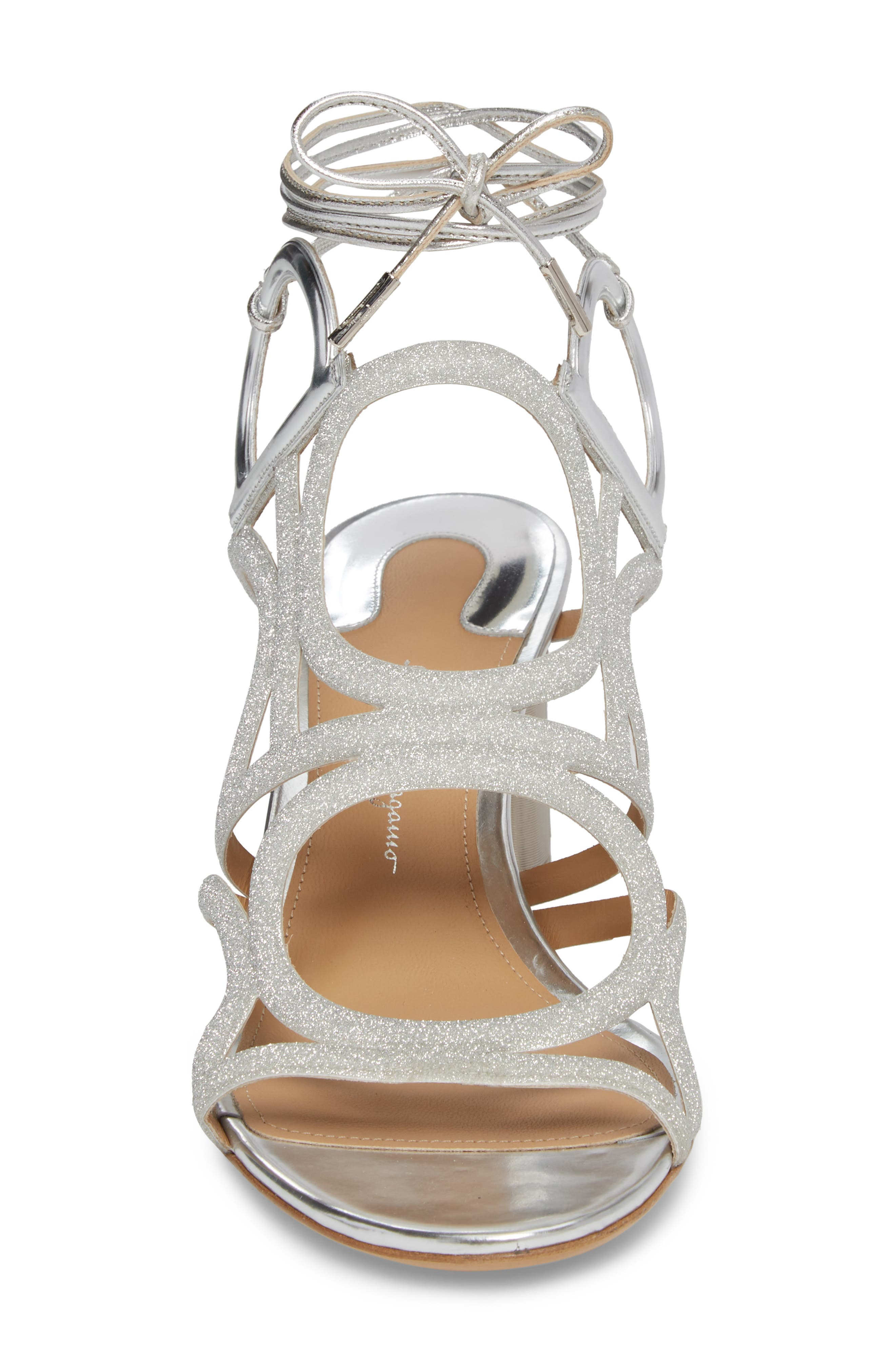 Vinci Lace-Up Block Heel Sandal,                             Alternate thumbnail 4, color,                             SILVER