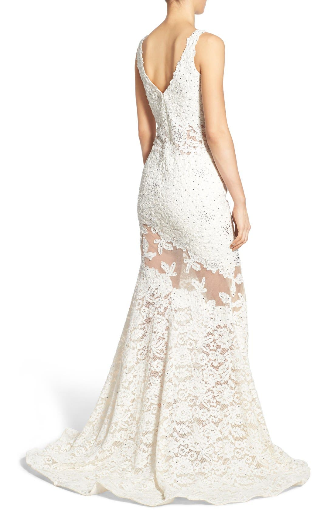 Embellished Lace Mermaid Gown,                             Alternate thumbnail 6, color,                             900