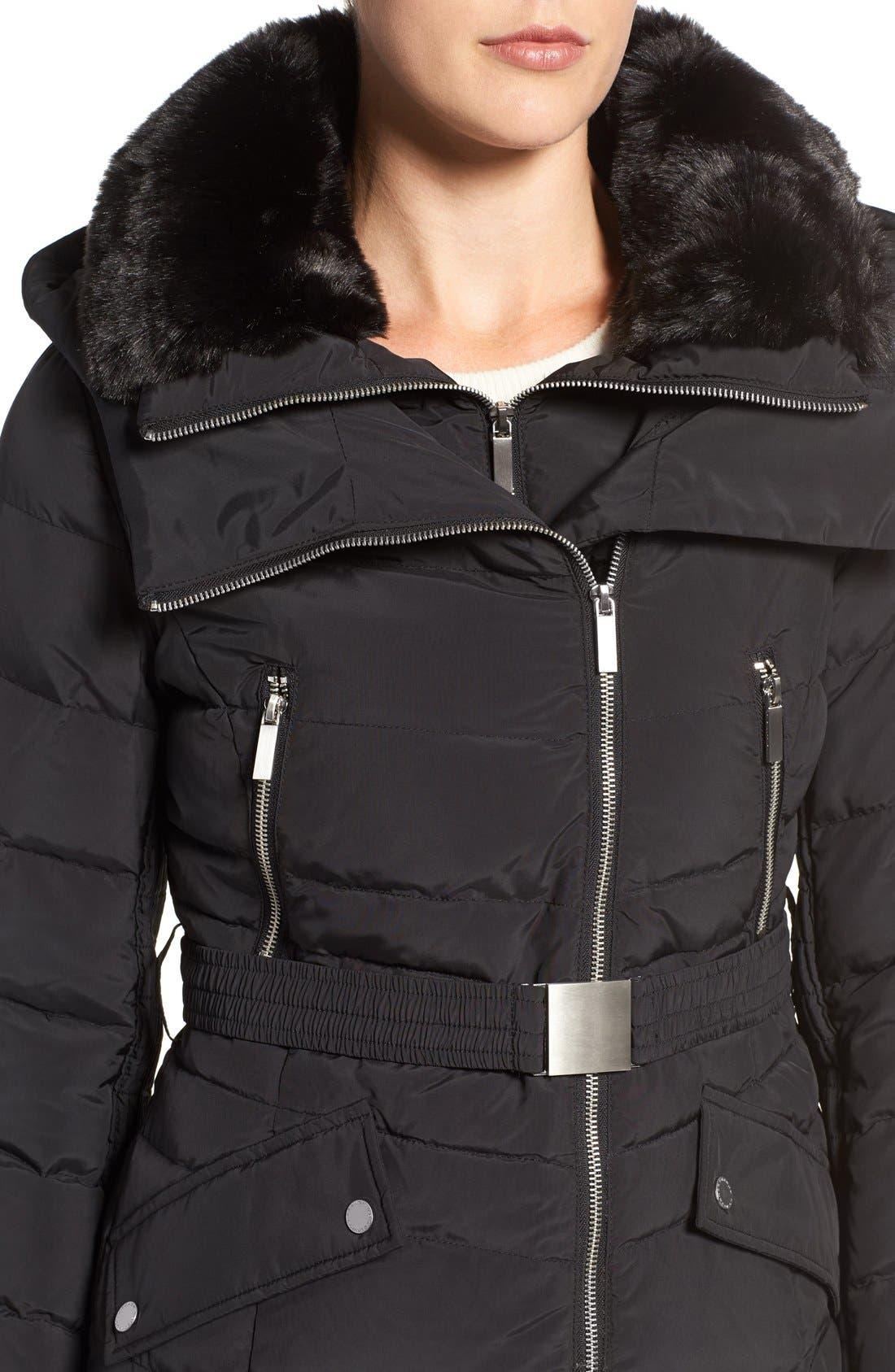 Down Coat with Faux Fur Trim,                             Alternate thumbnail 4, color,                             001