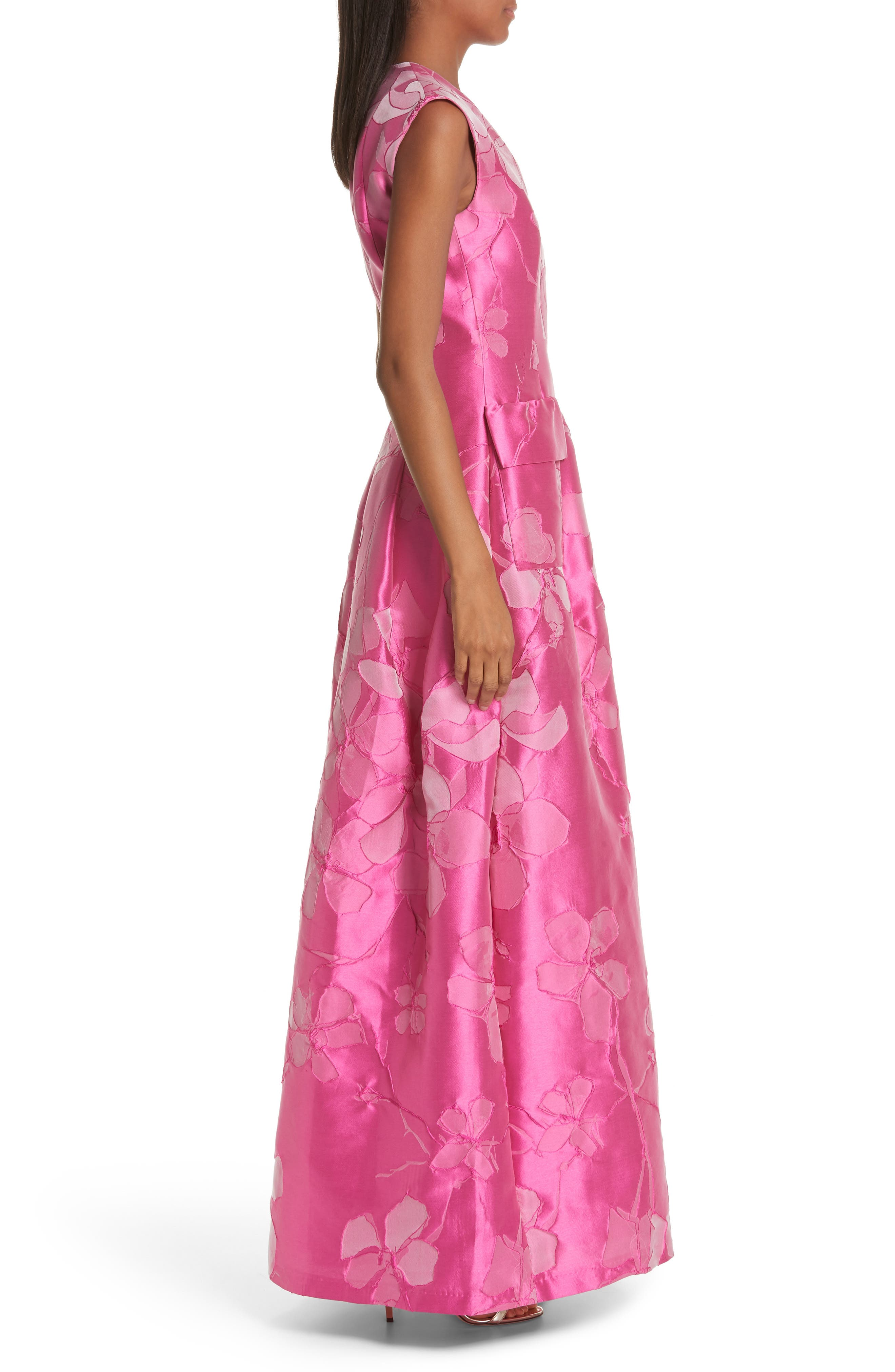 TALBOT RUNHOF,                             Floral V-Neck Evening Dress,                             Alternate thumbnail 3, color,                             FUCHSIA PINK