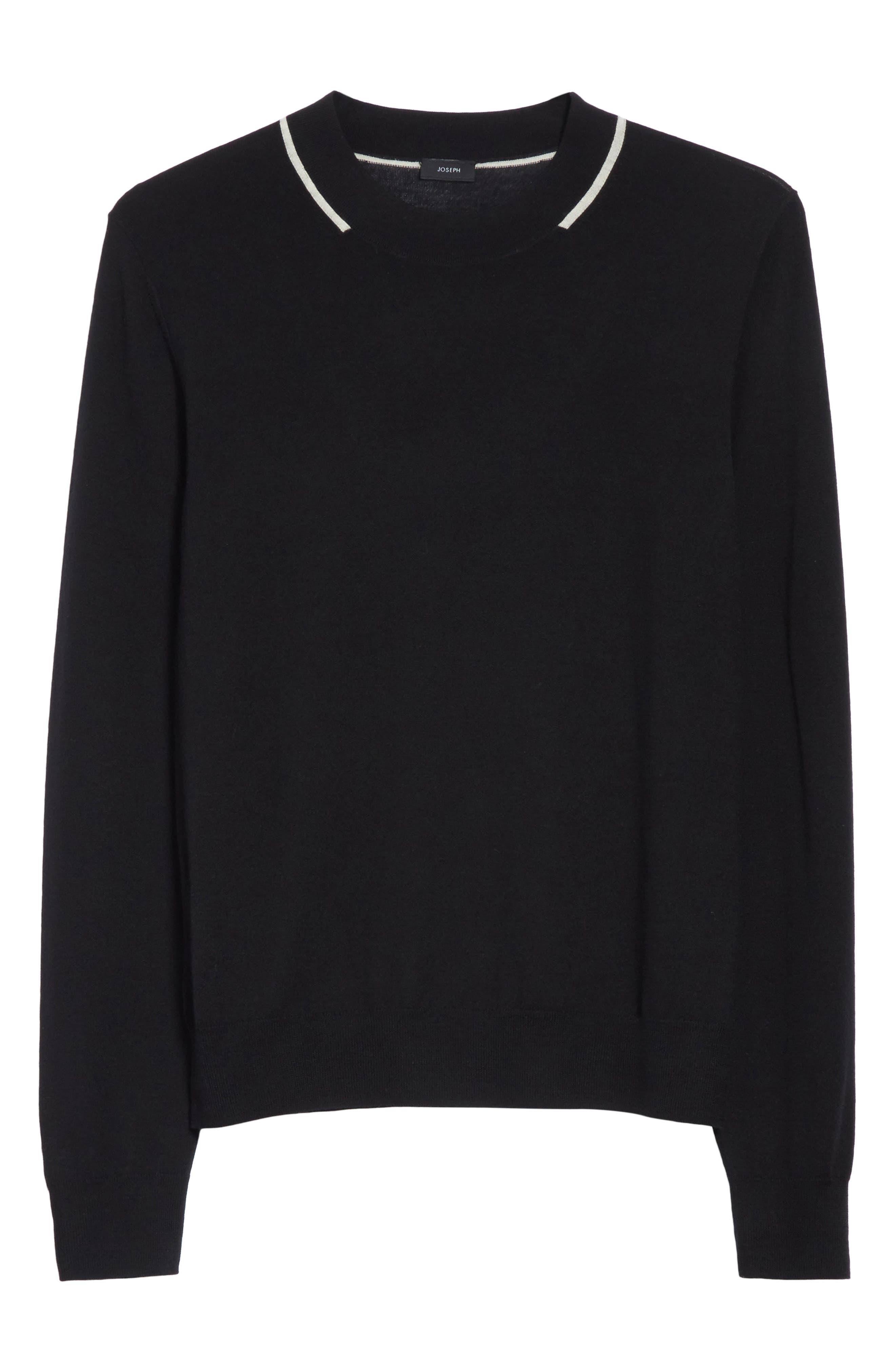 Fine Merino Wool Sweater,                             Alternate thumbnail 6, color,                             001