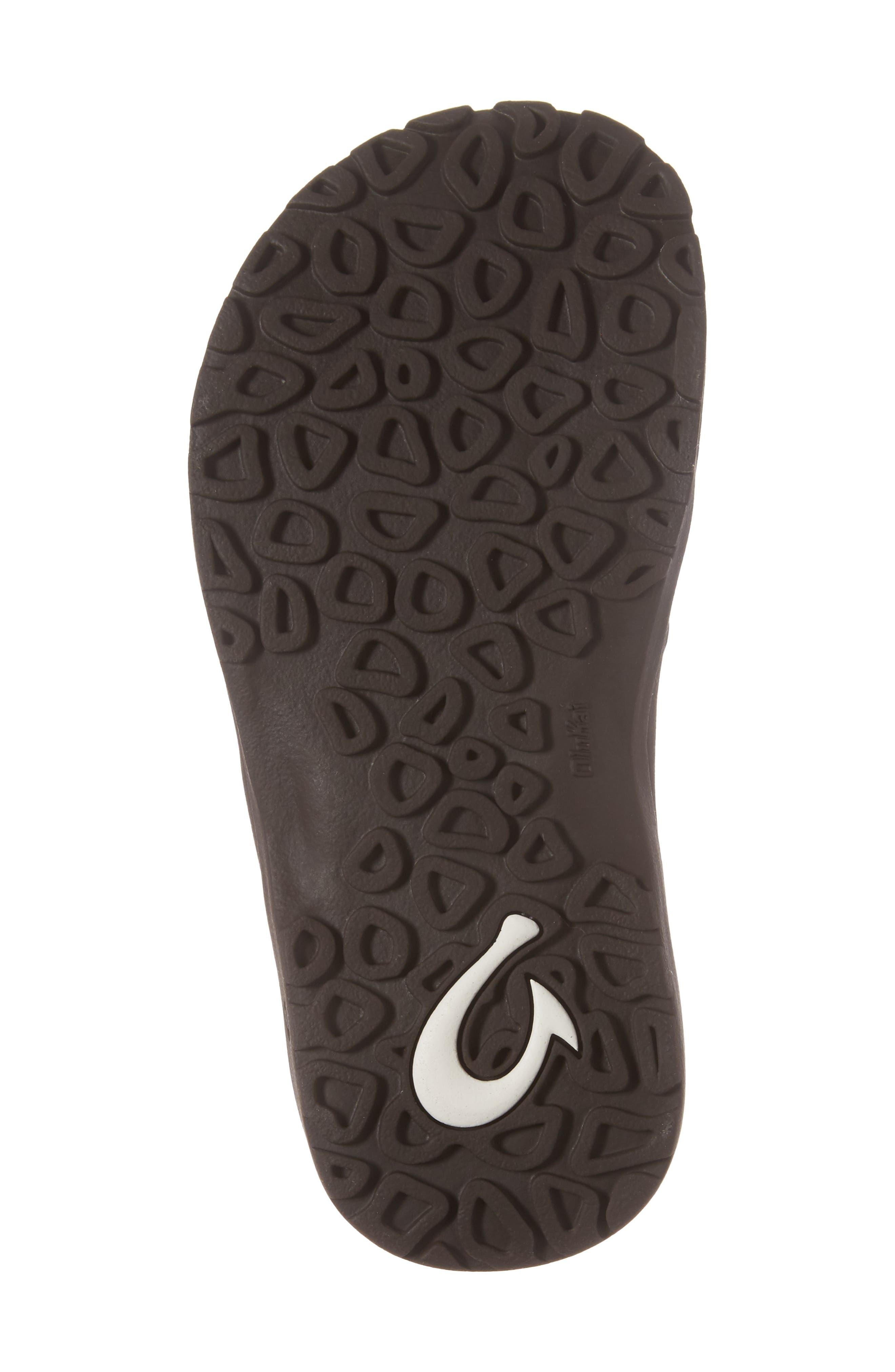 OLUKAI,                             Nui Leather Sandal,                             Alternate thumbnail 6, color,                             SEAL BROWN/ DARK JAVA