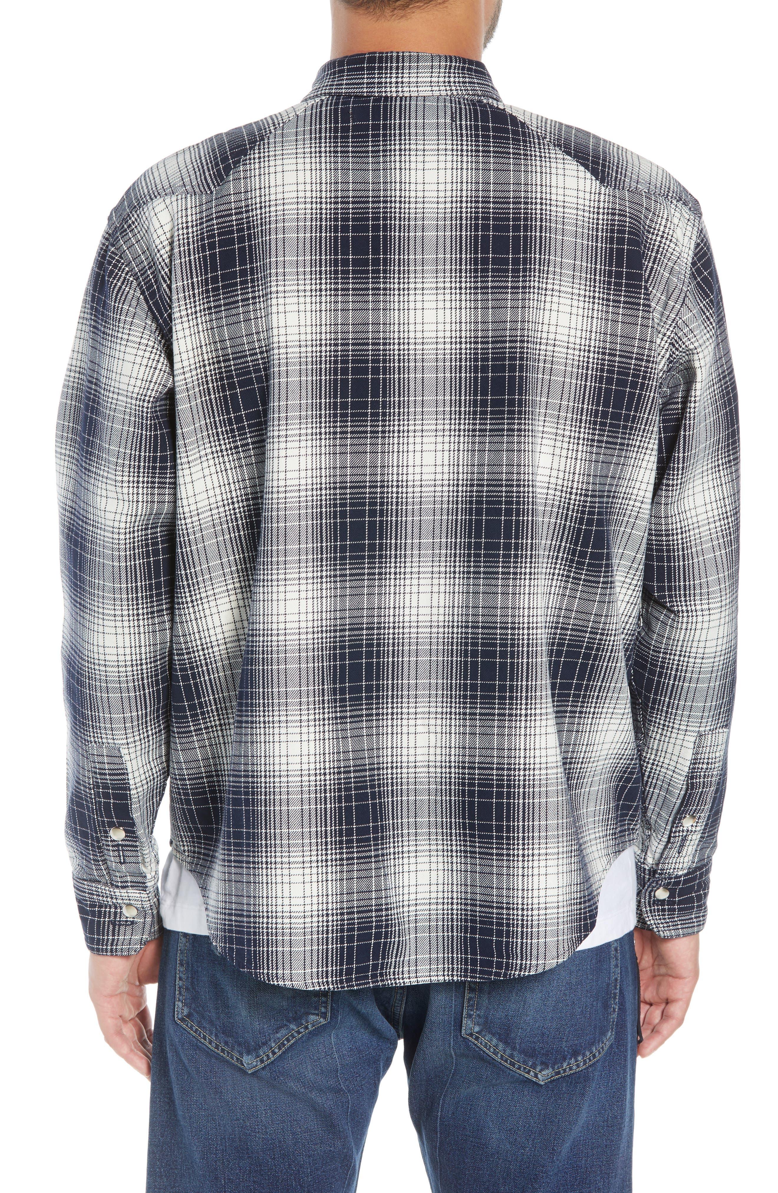 Western Flannel Slim Shirt,                             Alternate thumbnail 3, color,                             BLACK SHADOW