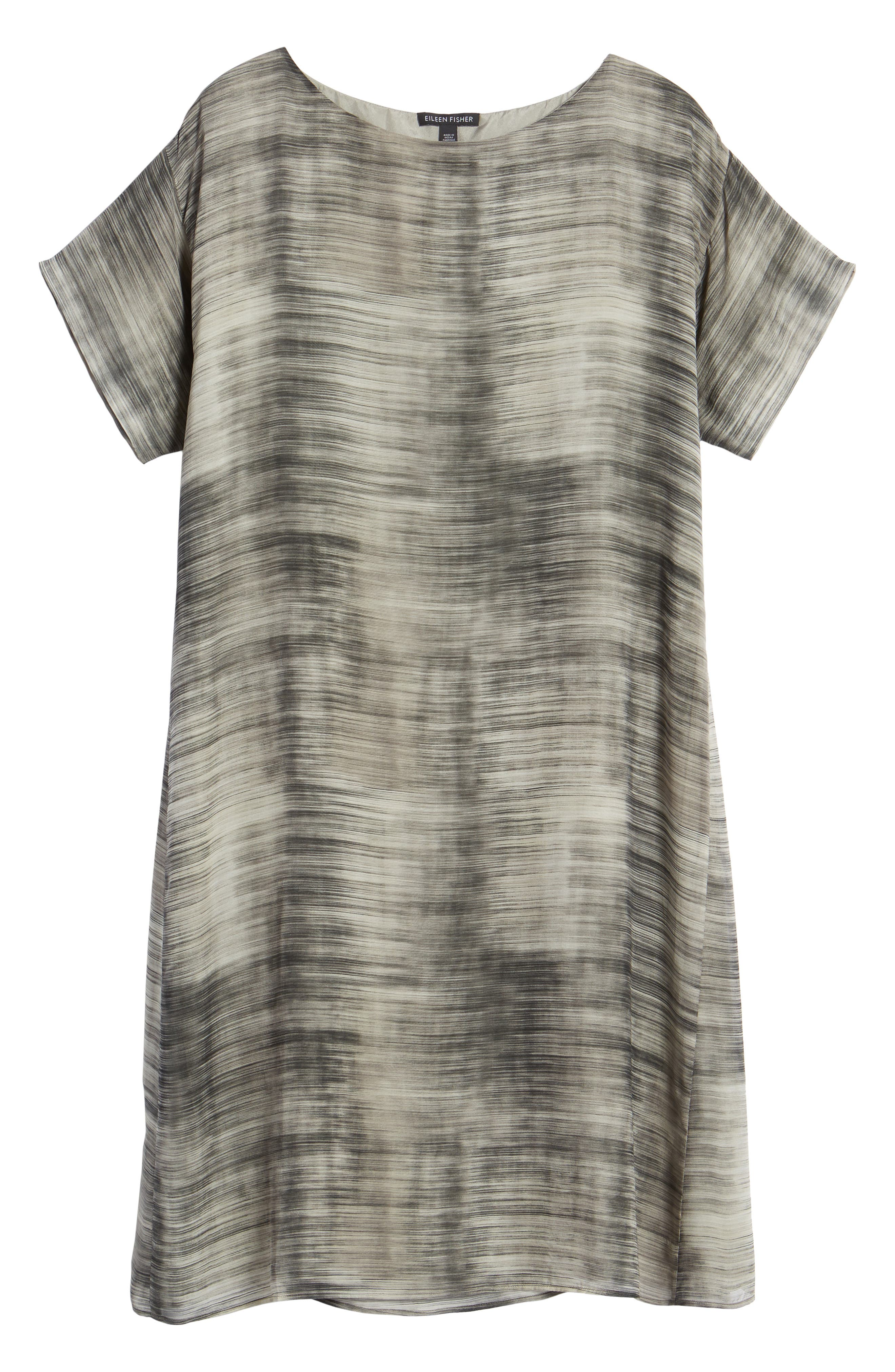 Bateau Neck Silk Shift Dress,                             Alternate thumbnail 12, color,