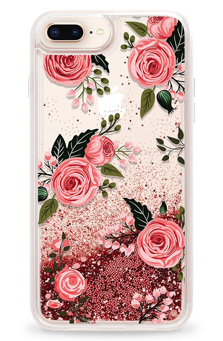 Casetify Pink Glitter Flowers Iphone 78 78 Plus Case Nordstrom