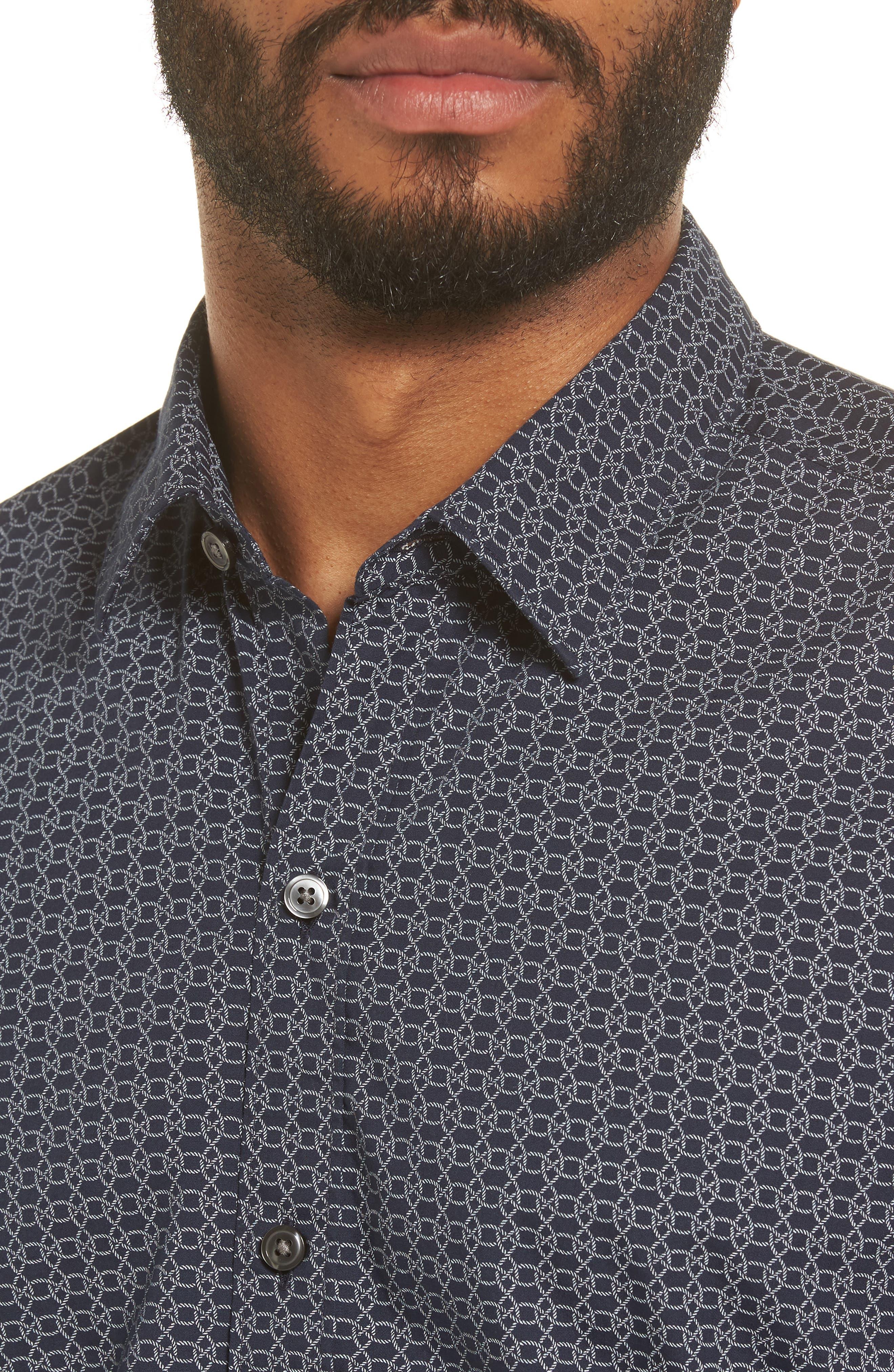 Robb Sharp Fit Knot Print Sport Shirt,                             Alternate thumbnail 4, color,                             410
