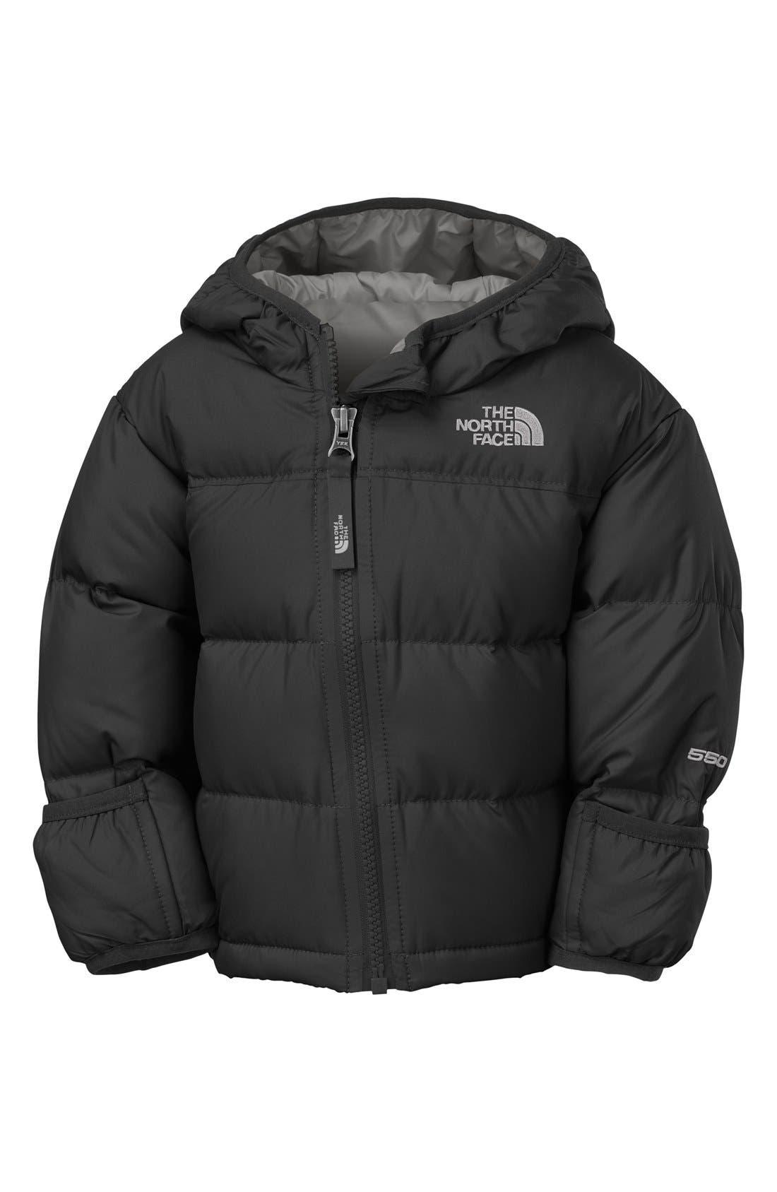 THE NORTH FACE 'Nuptse' Hooded Down Jacket, Main, color, 001