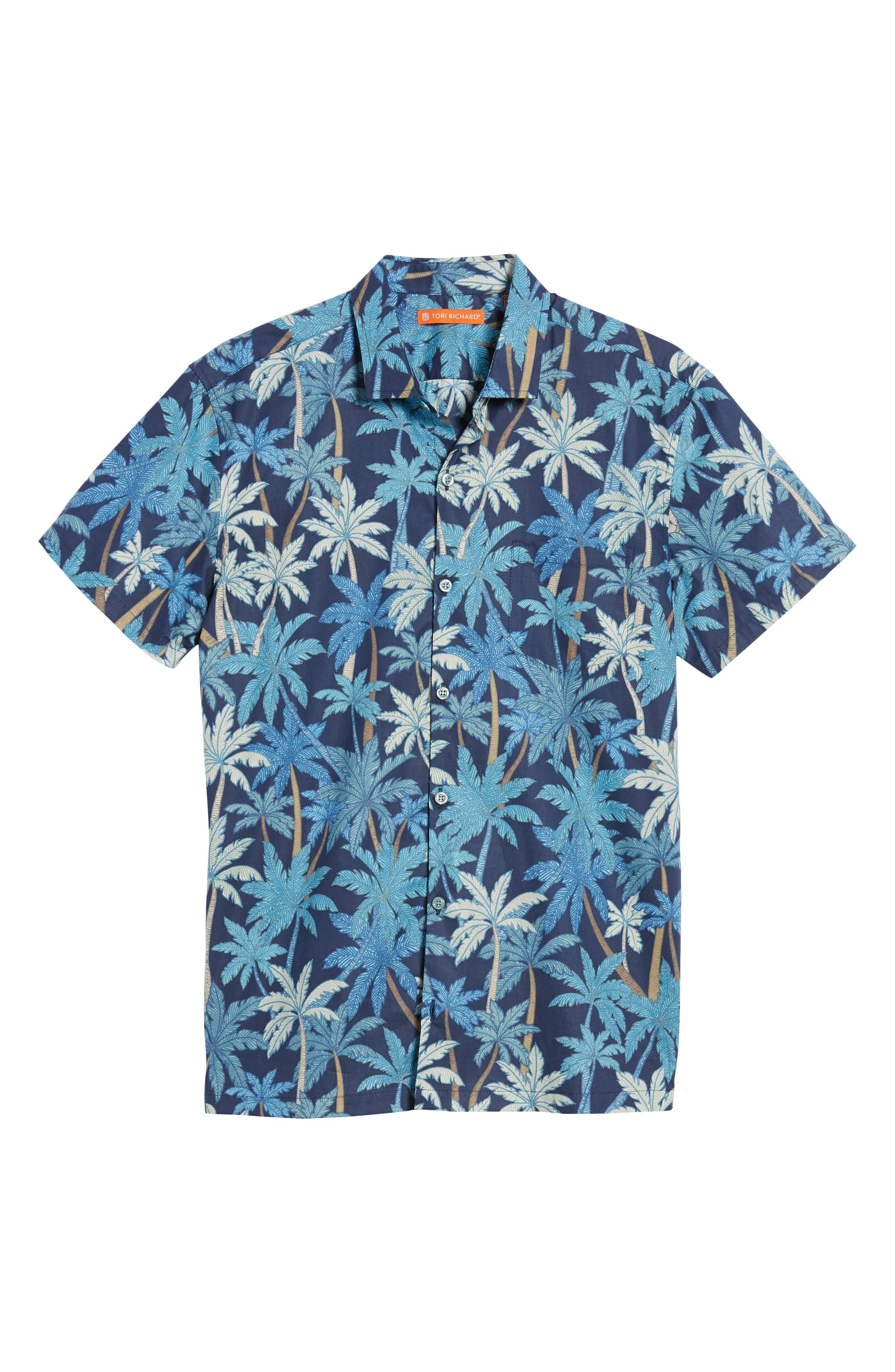Pick a Palm Trim Fit Camp Shirt,                             Alternate thumbnail 6, color,                             NAVY