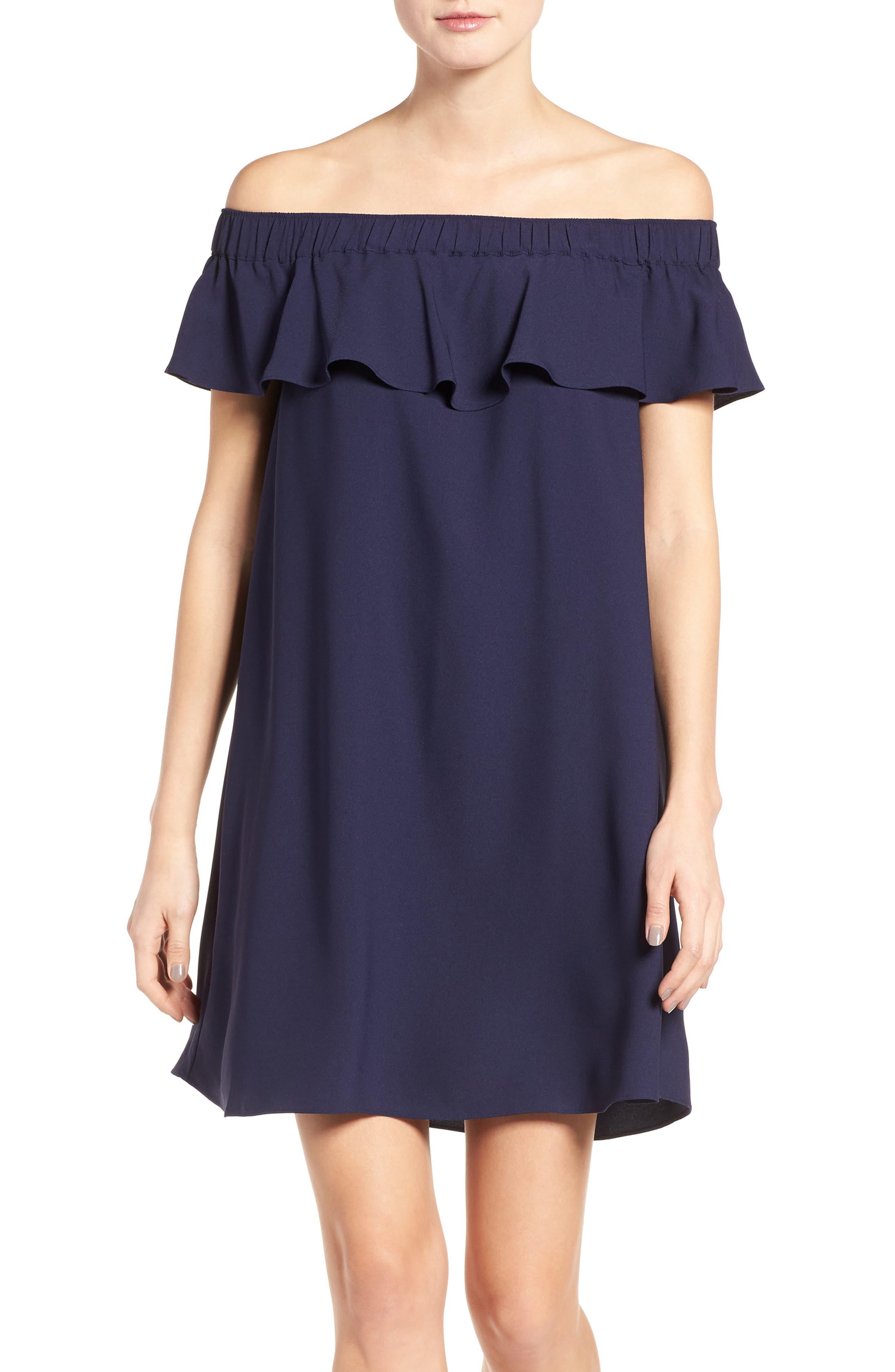 Off the Shoulder Crepe Dress,                             Main thumbnail 3, color,