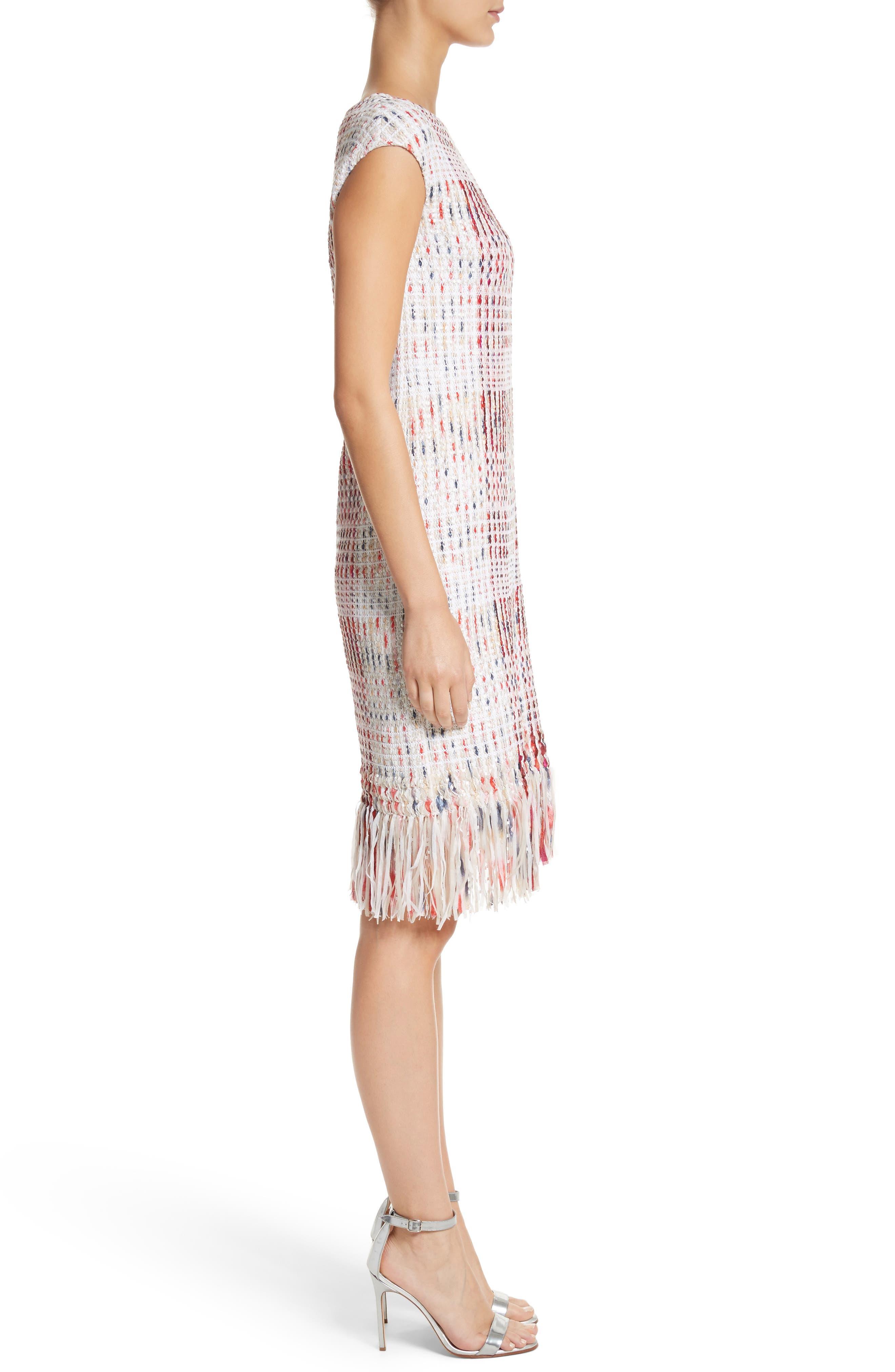 Ribbon Macro Plaid Knit Dress,                             Alternate thumbnail 3, color,                             660