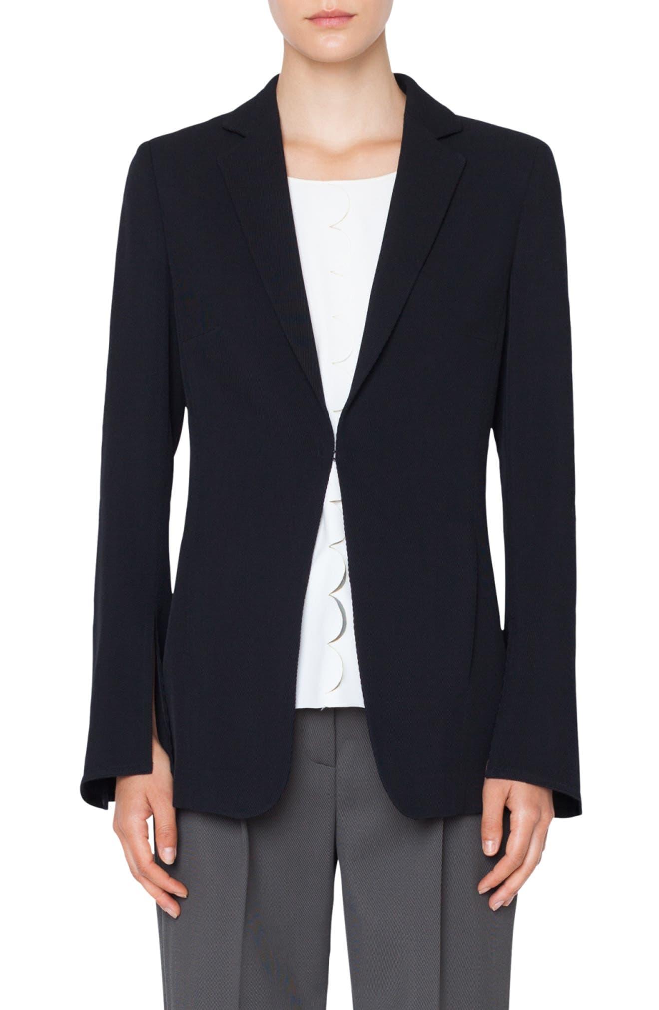 Hook-Front Wool Tricot Blazer Jacket in Black