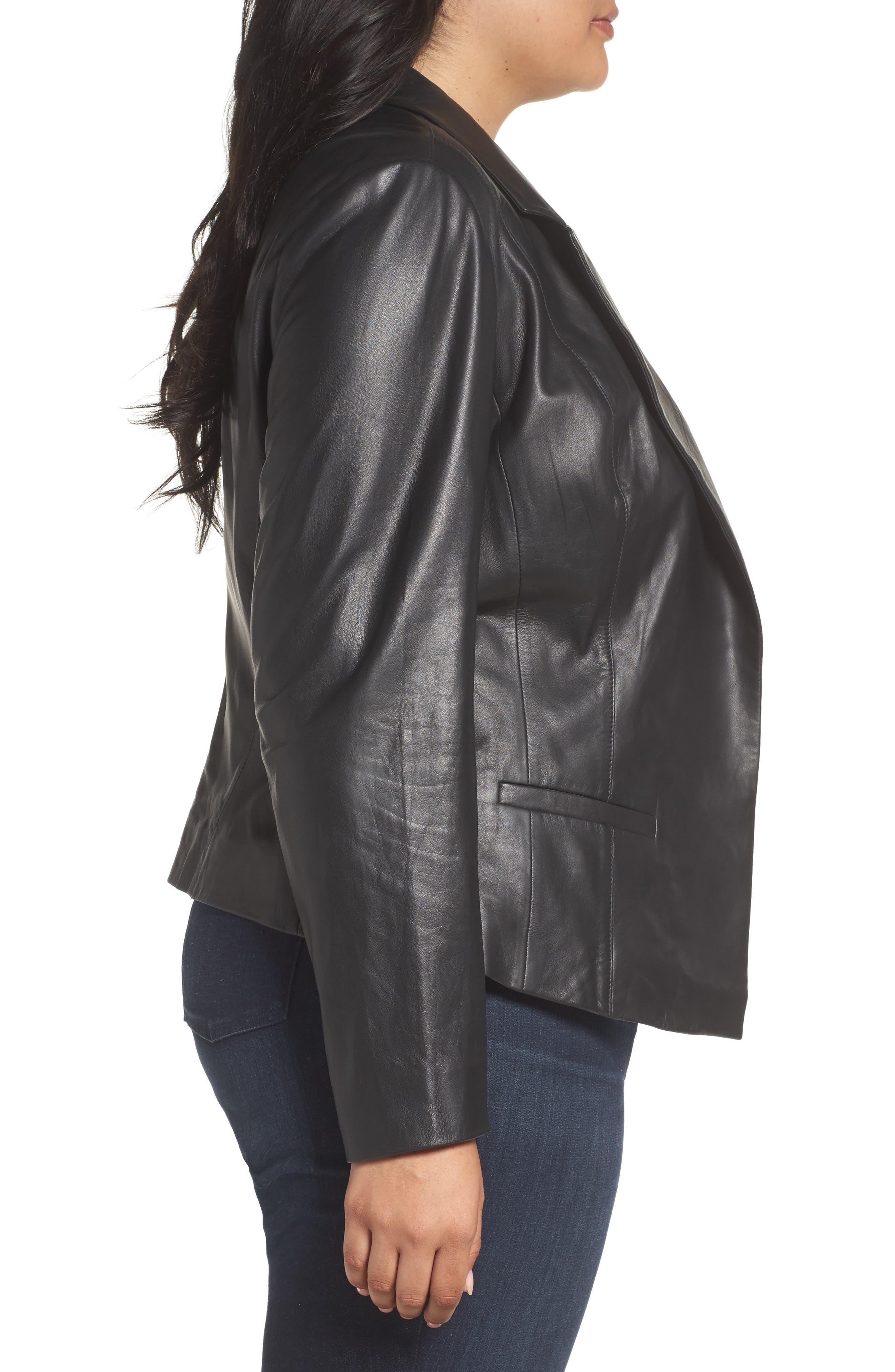Leather Blazer,                             Alternate thumbnail 3, color,                             001