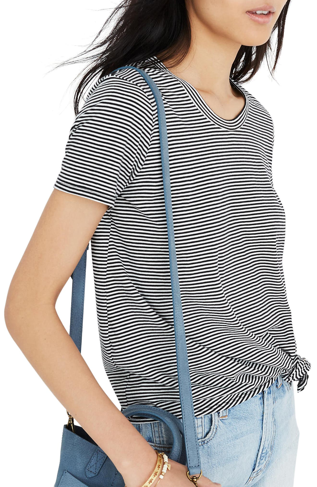 Stripe Knot Front Tee,                             Alternate thumbnail 2, color,                             009