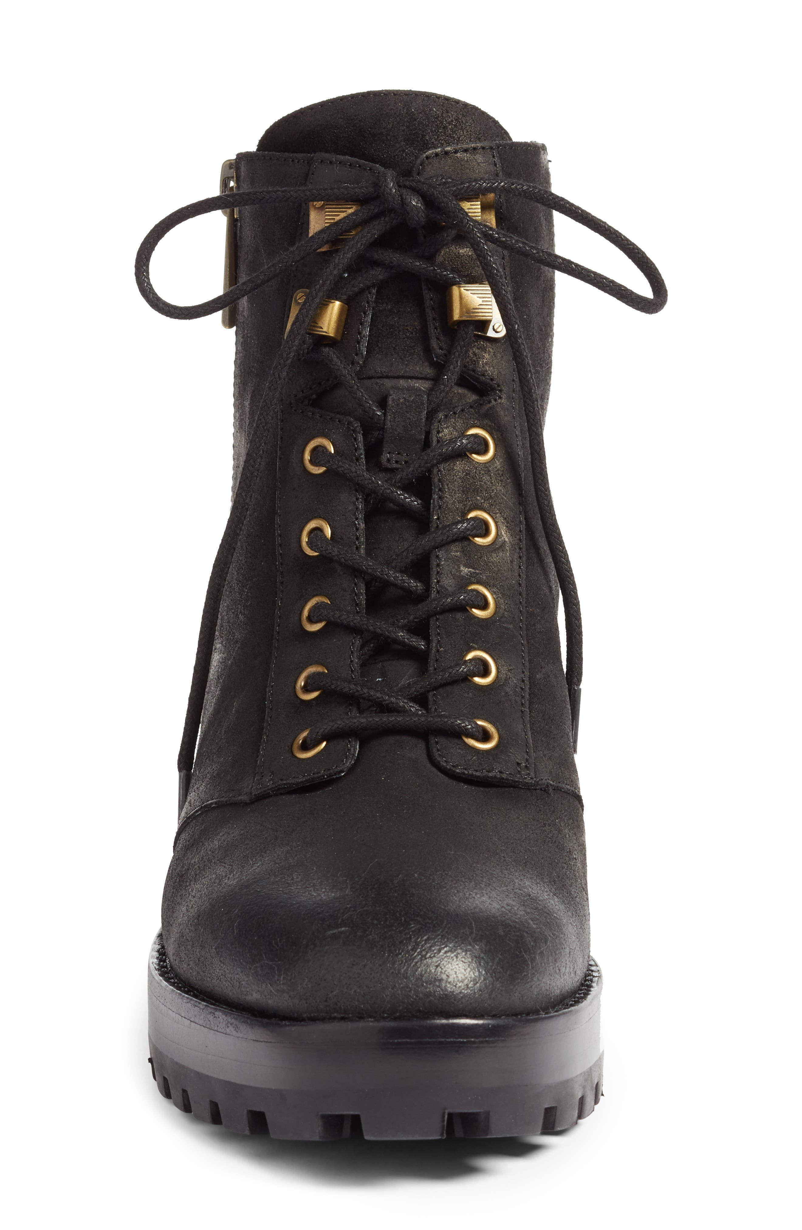 Rosario Combat Boot,                             Alternate thumbnail 4, color,                             BLACK NAPPA