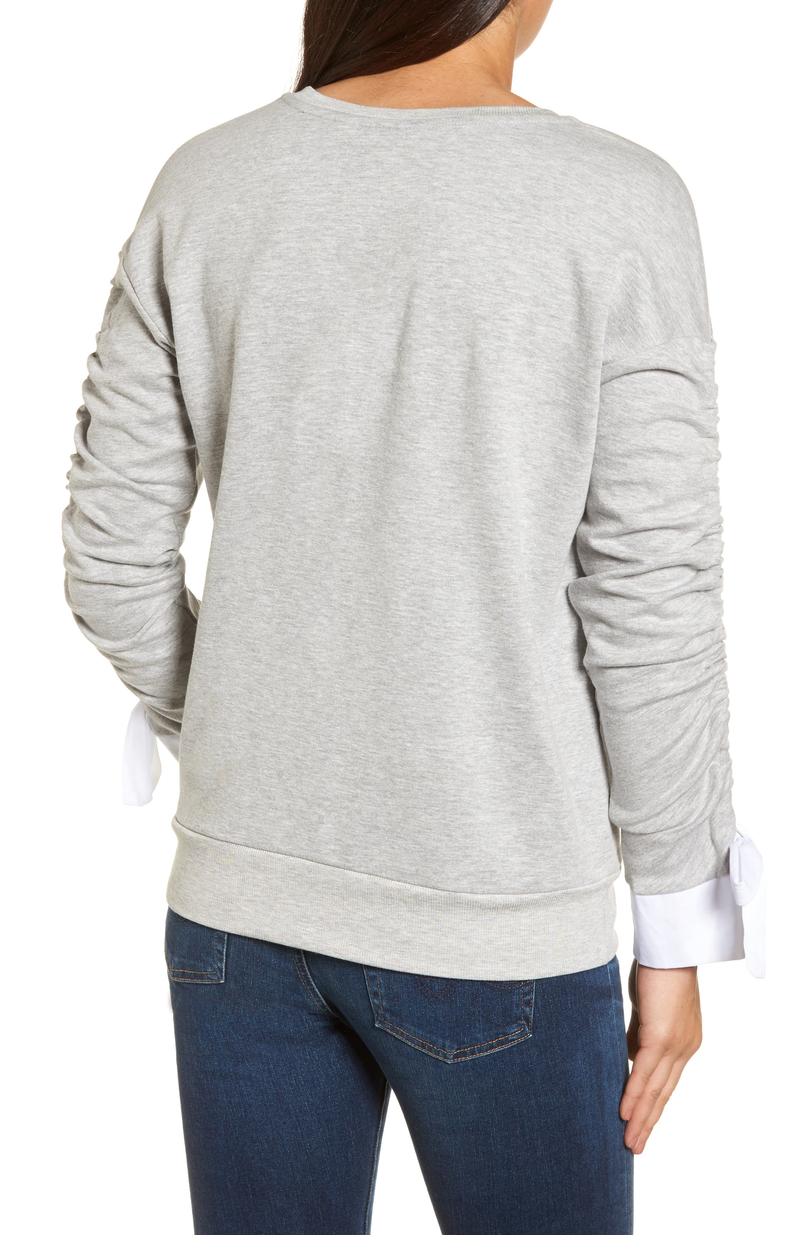 Ruched Sleeve Poplin Trim Sweatshirt,                             Alternate thumbnail 6, color,
