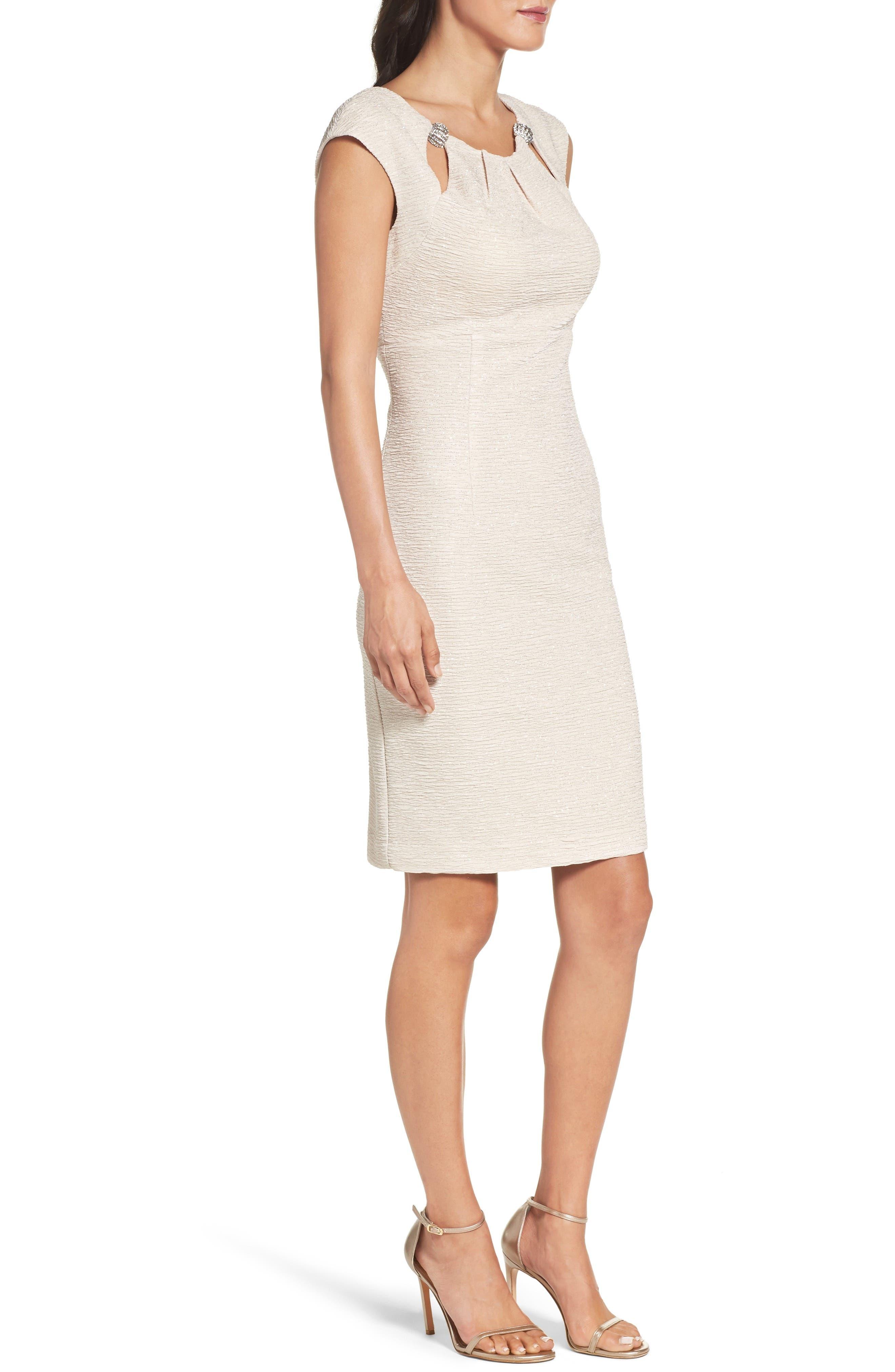 Embellished Glitter Knit Sheath Dress,                             Alternate thumbnail 3, color,