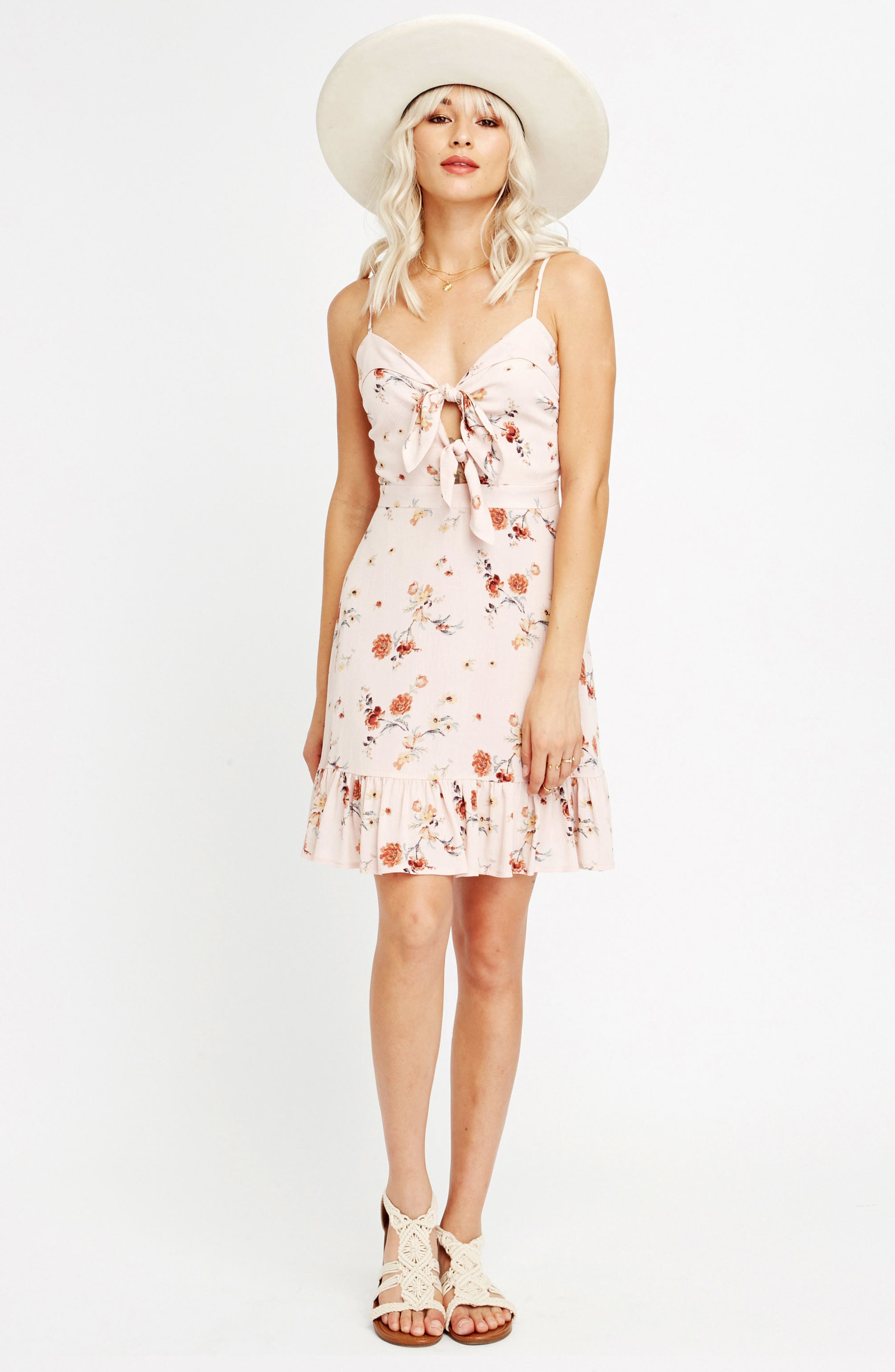LOST + WANDER,                             Rosa Floral Tie Front Minidress,                             Alternate thumbnail 8, color,                             650