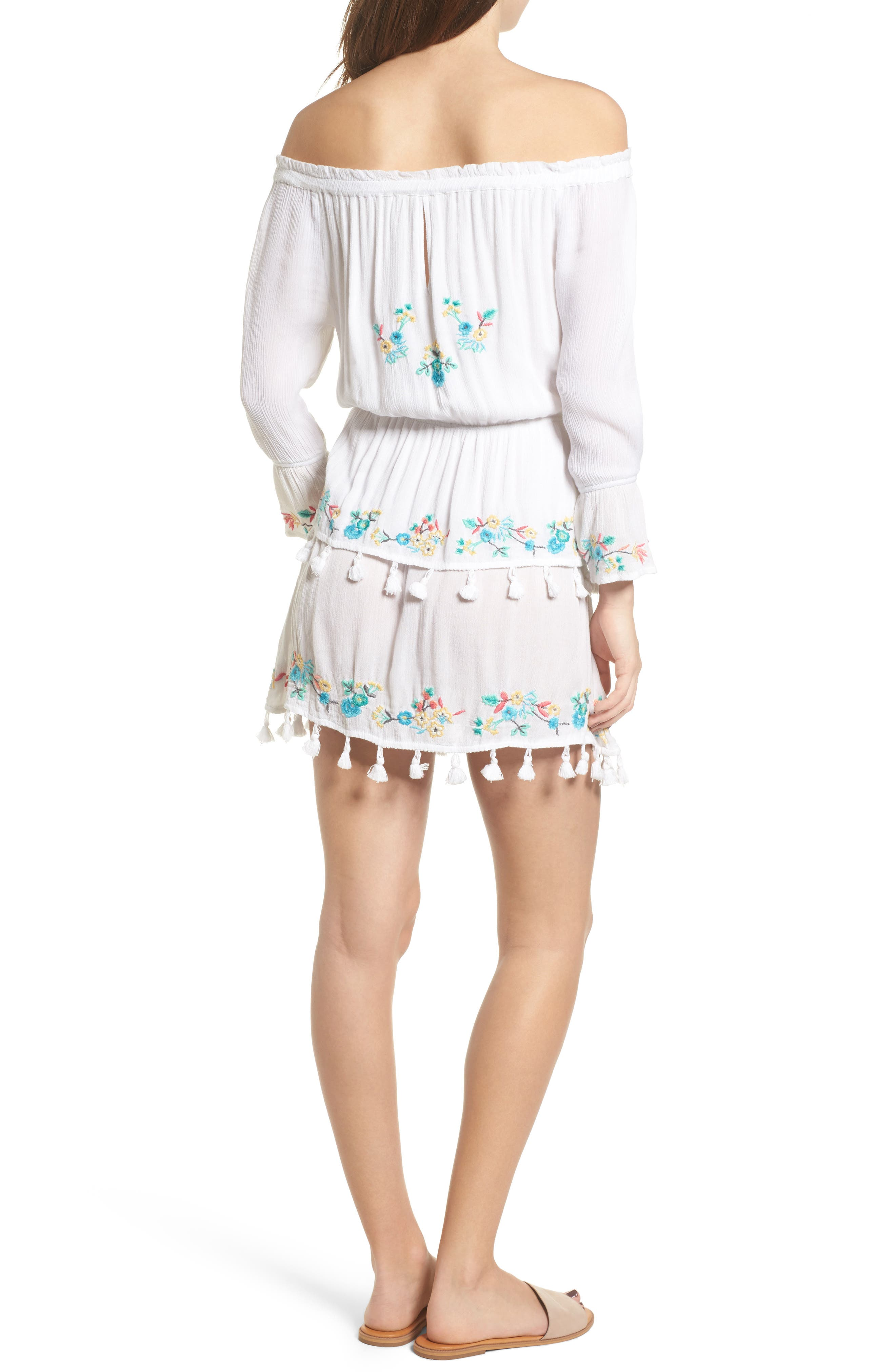 Ashlyn Embroidered Off the Shoulder Minidress,                             Alternate thumbnail 2, color,