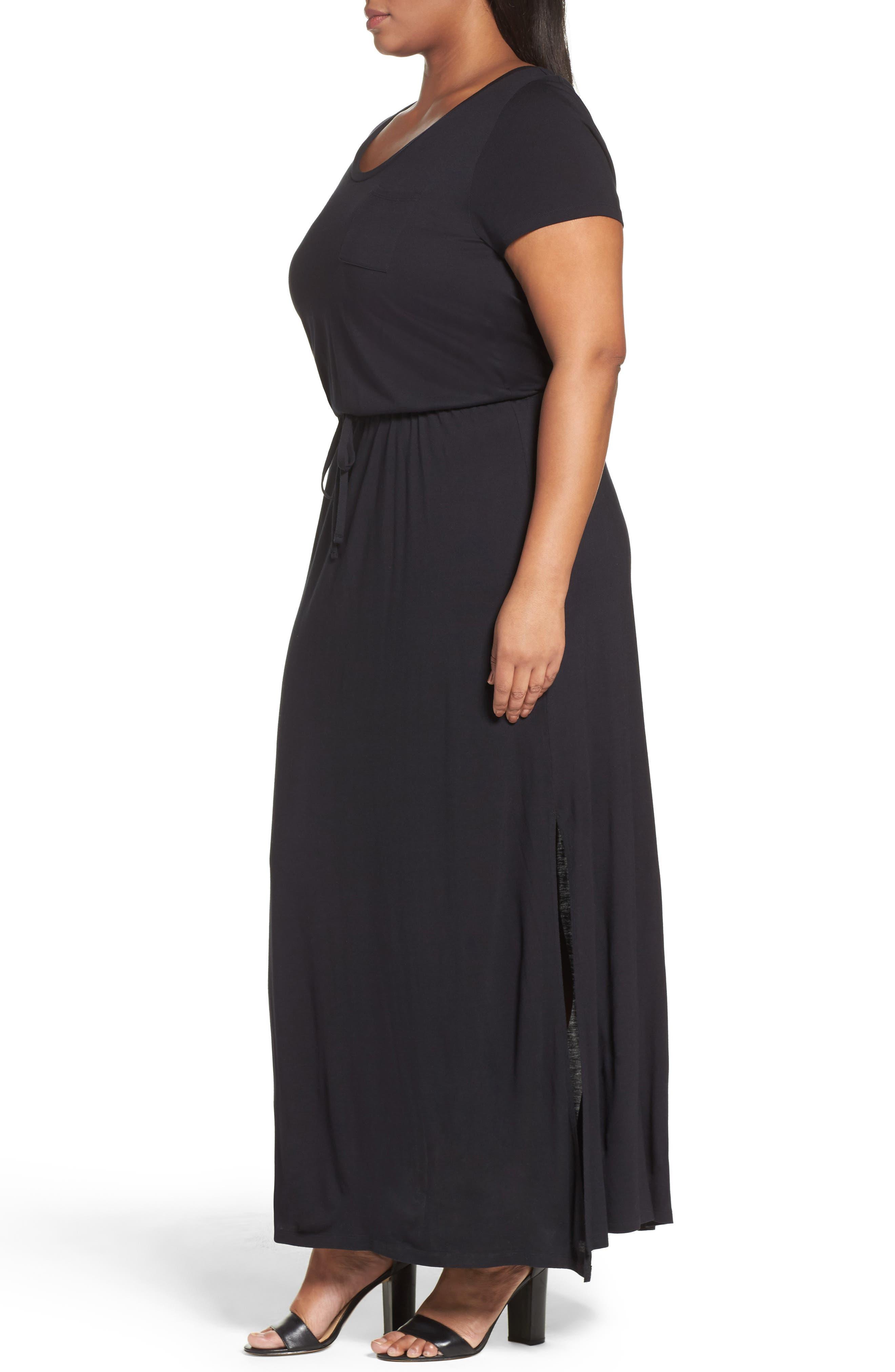 Knit Drawstring Waist Maxi Dress,                             Alternate thumbnail 2, color,                             BLACK