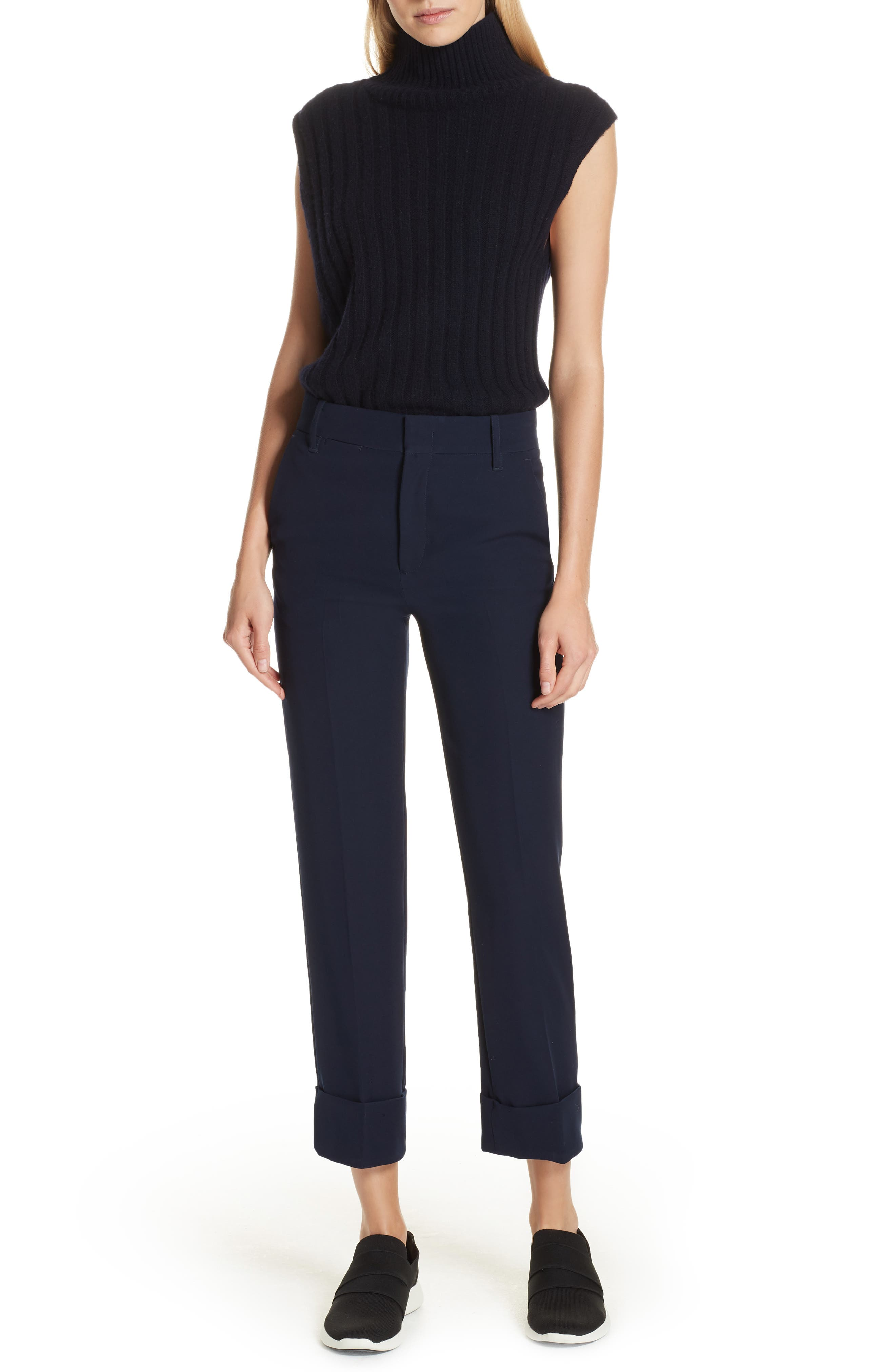 Cuffed Ankle Trousers,                             Alternate thumbnail 7, color,                             NAVY