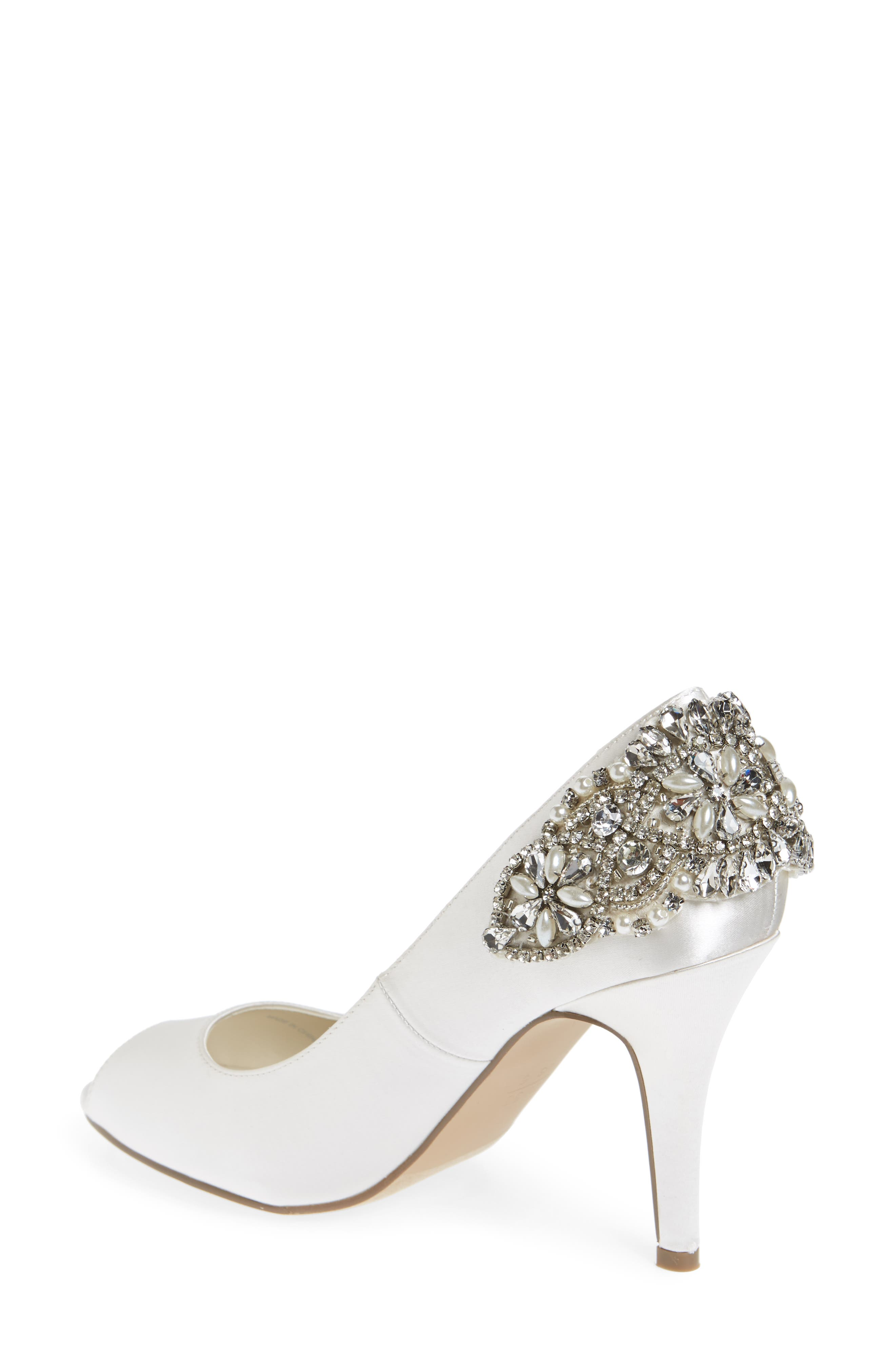 Cynthia Embellished Pump,                             Alternate thumbnail 2, color,                             IVORY SATIN