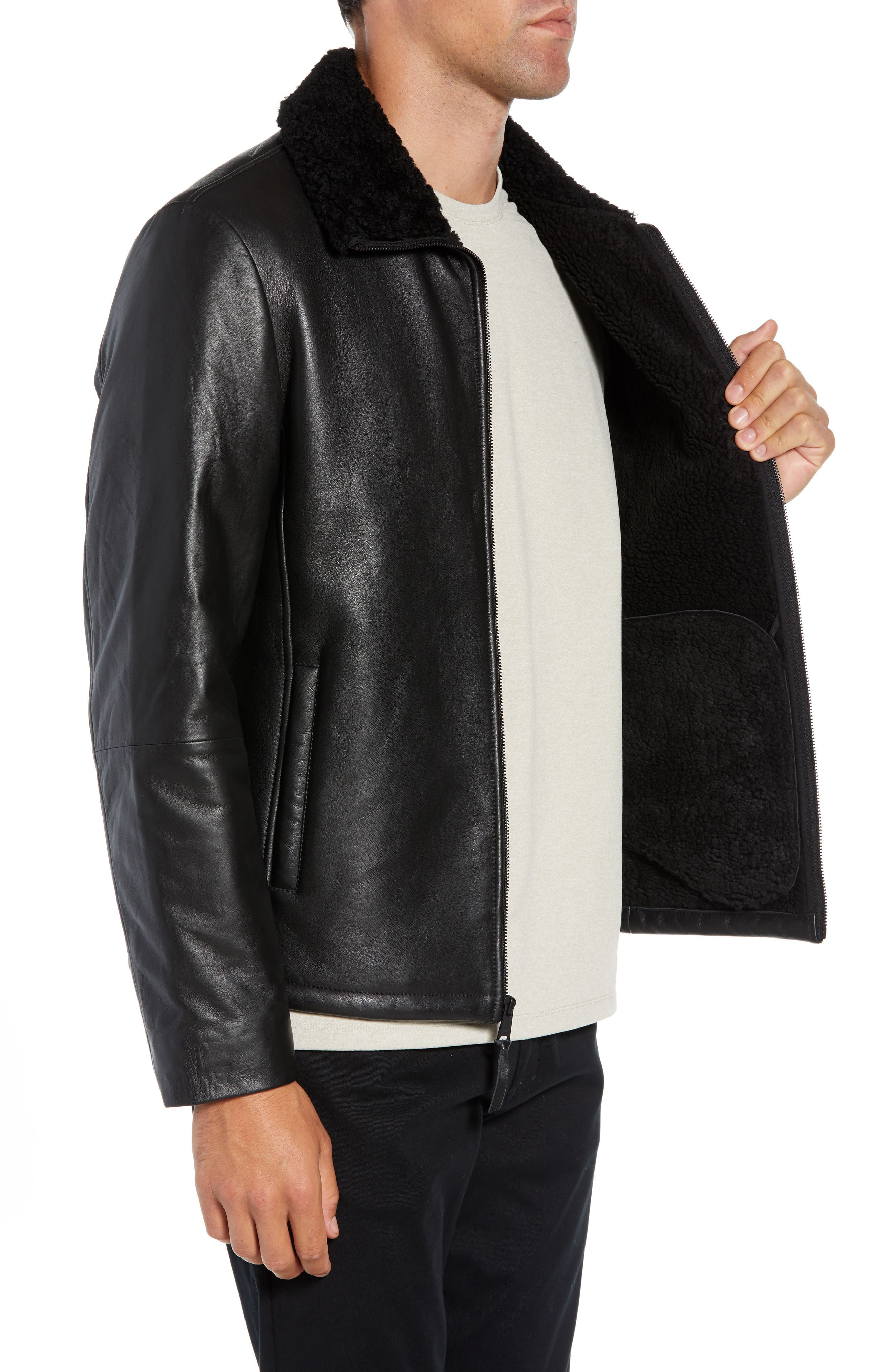 Leather Jacket with Genuine Shearling Collar,                             Alternate thumbnail 3, color,                             BLACK