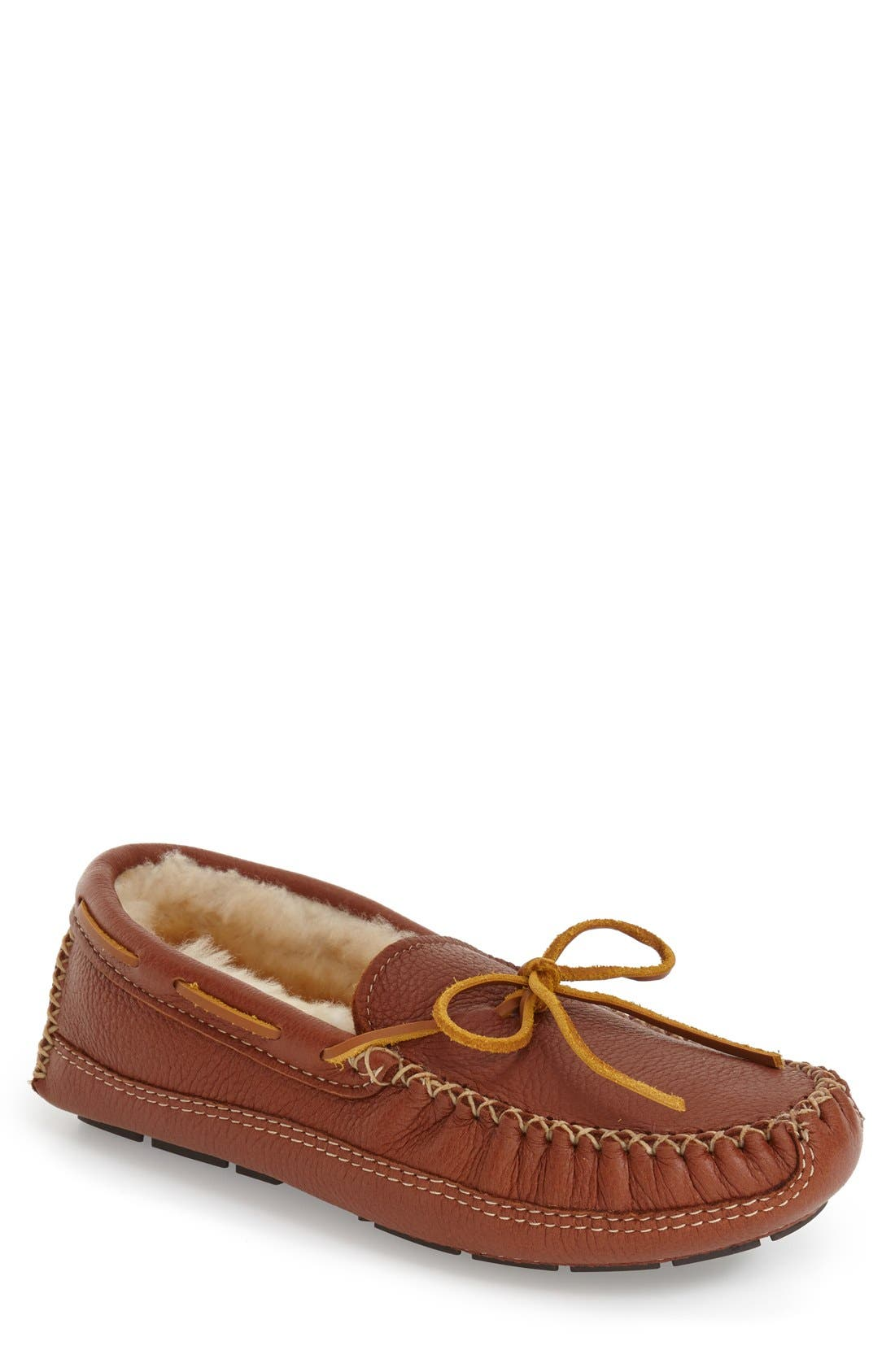 Genuine Shearling Lined Leather Slipper,                         Main,                         color, CARMEL