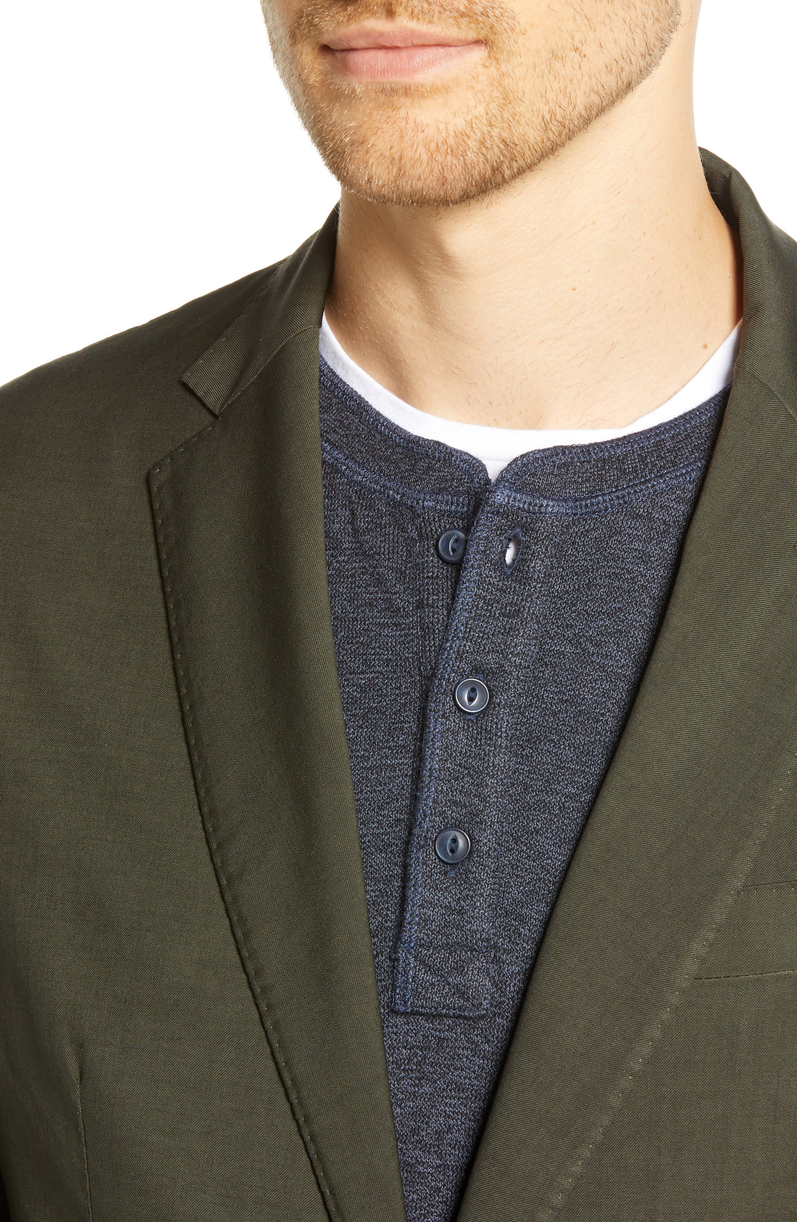Extra Trim Fit Garment Dyed Wool Sport Coat,                             Alternate thumbnail 4, color,                             OLIVE
