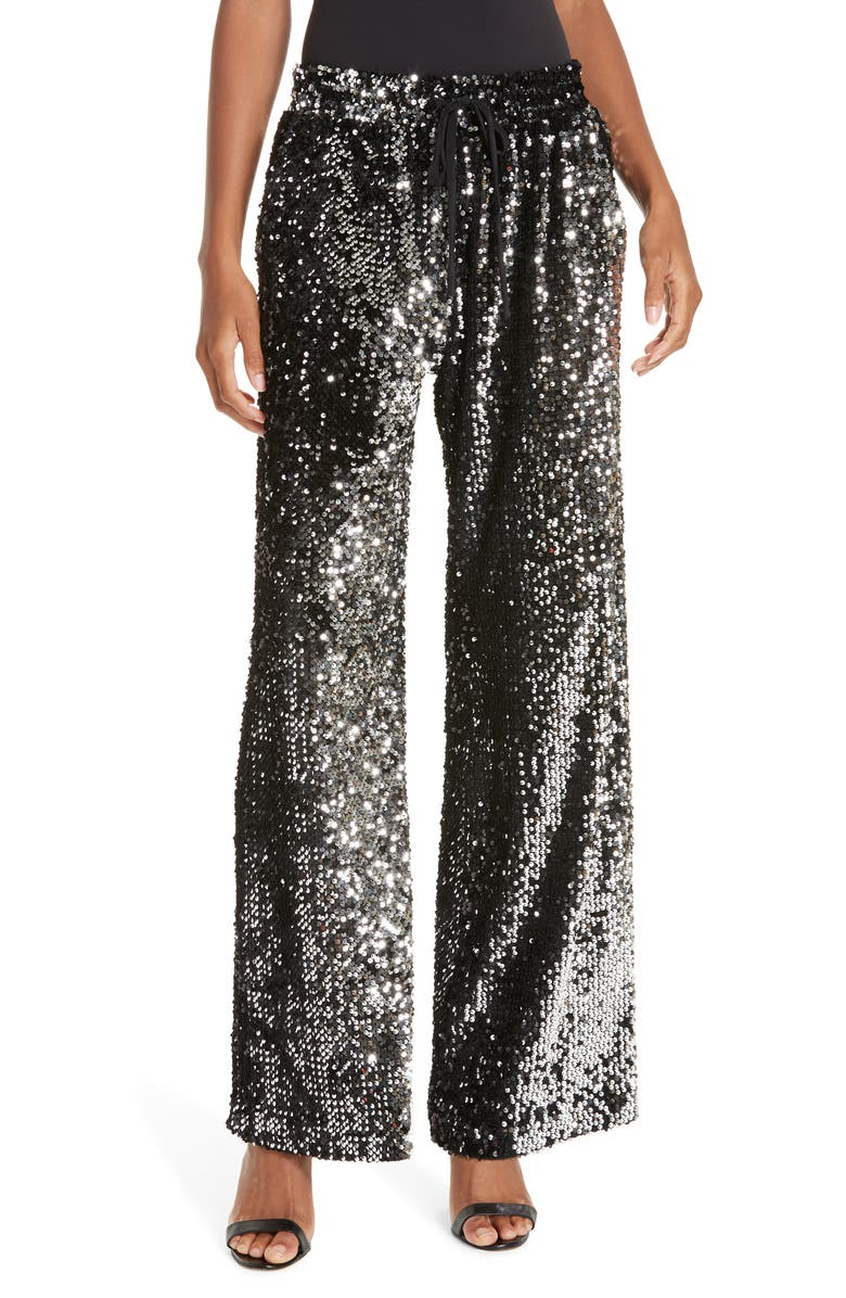 Milly SEQUIN WIDE LEG TRACK PANTS