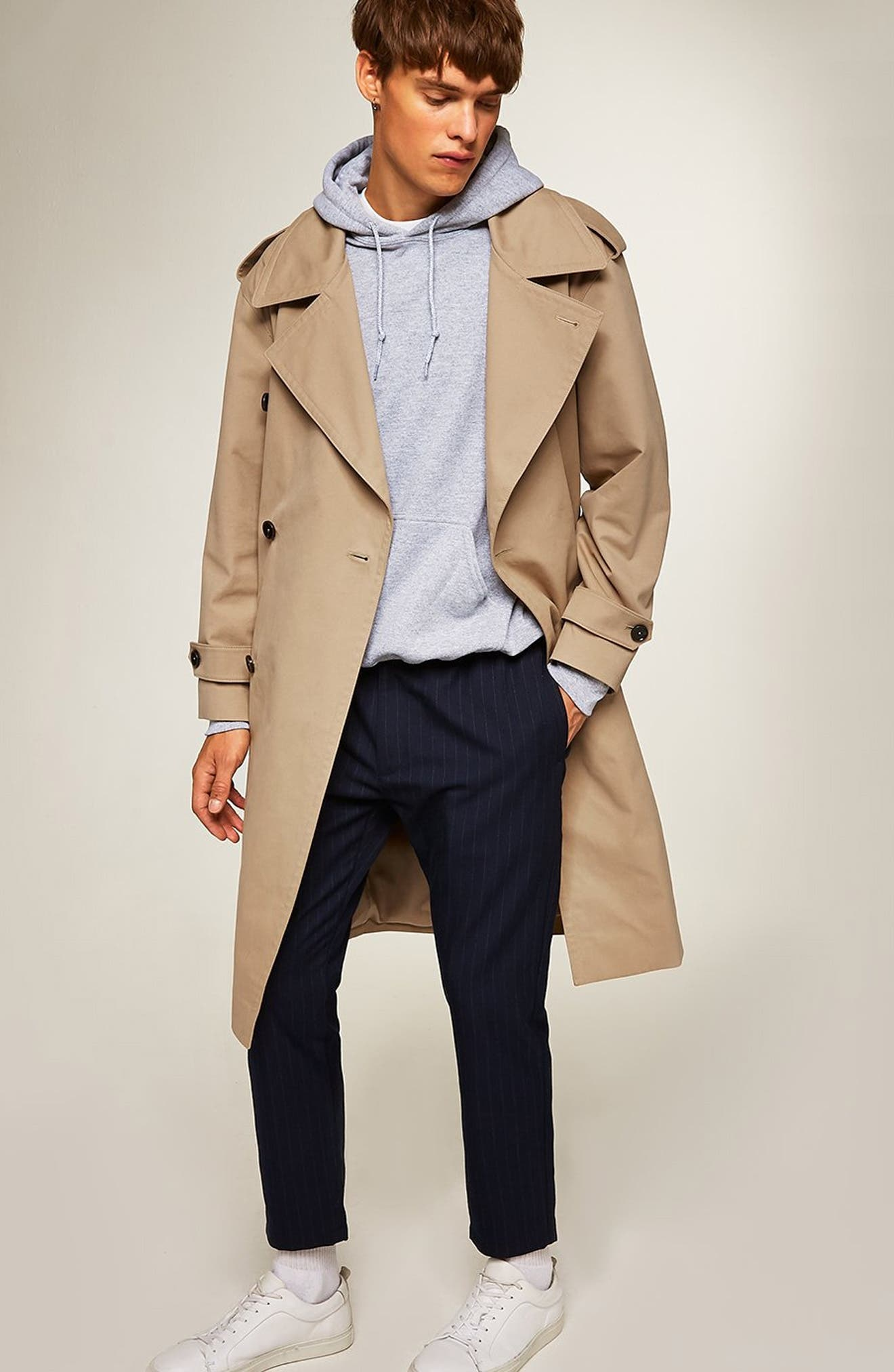 Double Breasted Trench Coat,                             Alternate thumbnail 5, color,                             STONE