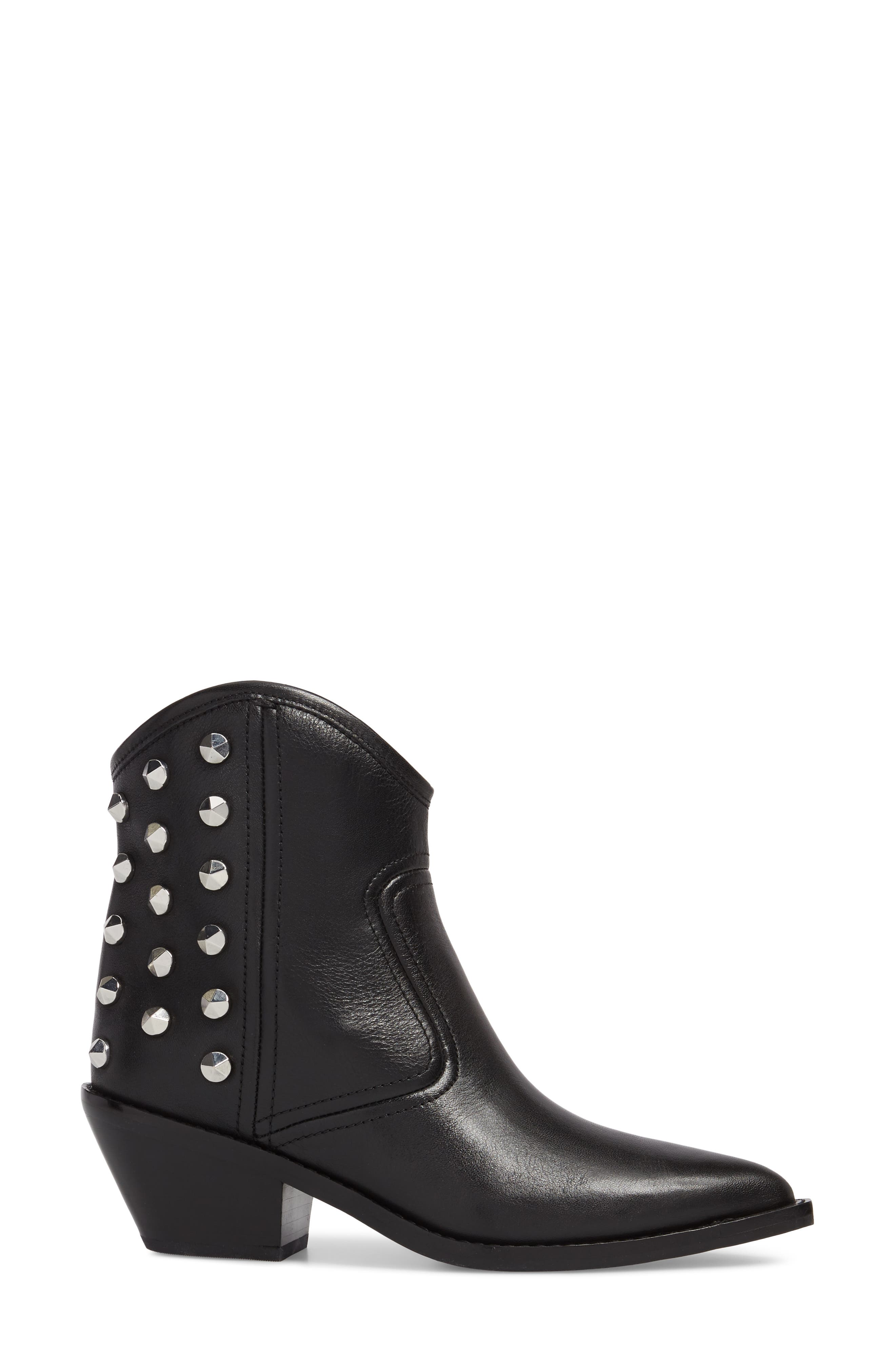 MARC FISHER LTD,                             Marc Fisher Baily Studded Western Bootie,                             Alternate thumbnail 3, color,                             001