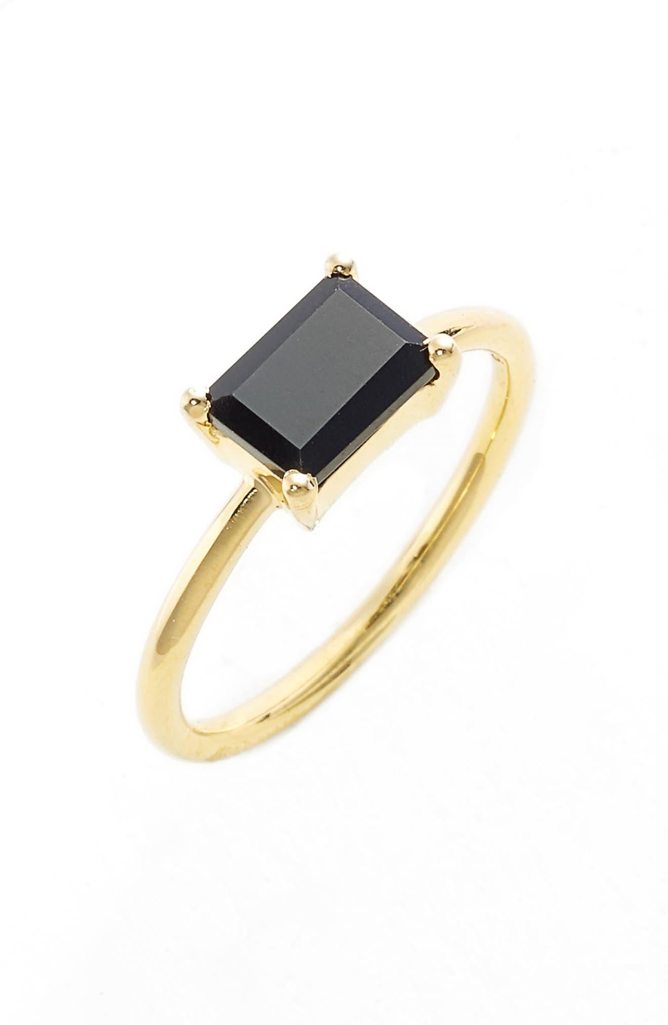 LEAH ALEXANDRA Black Garnet Baguette Ring, Main, color, 001