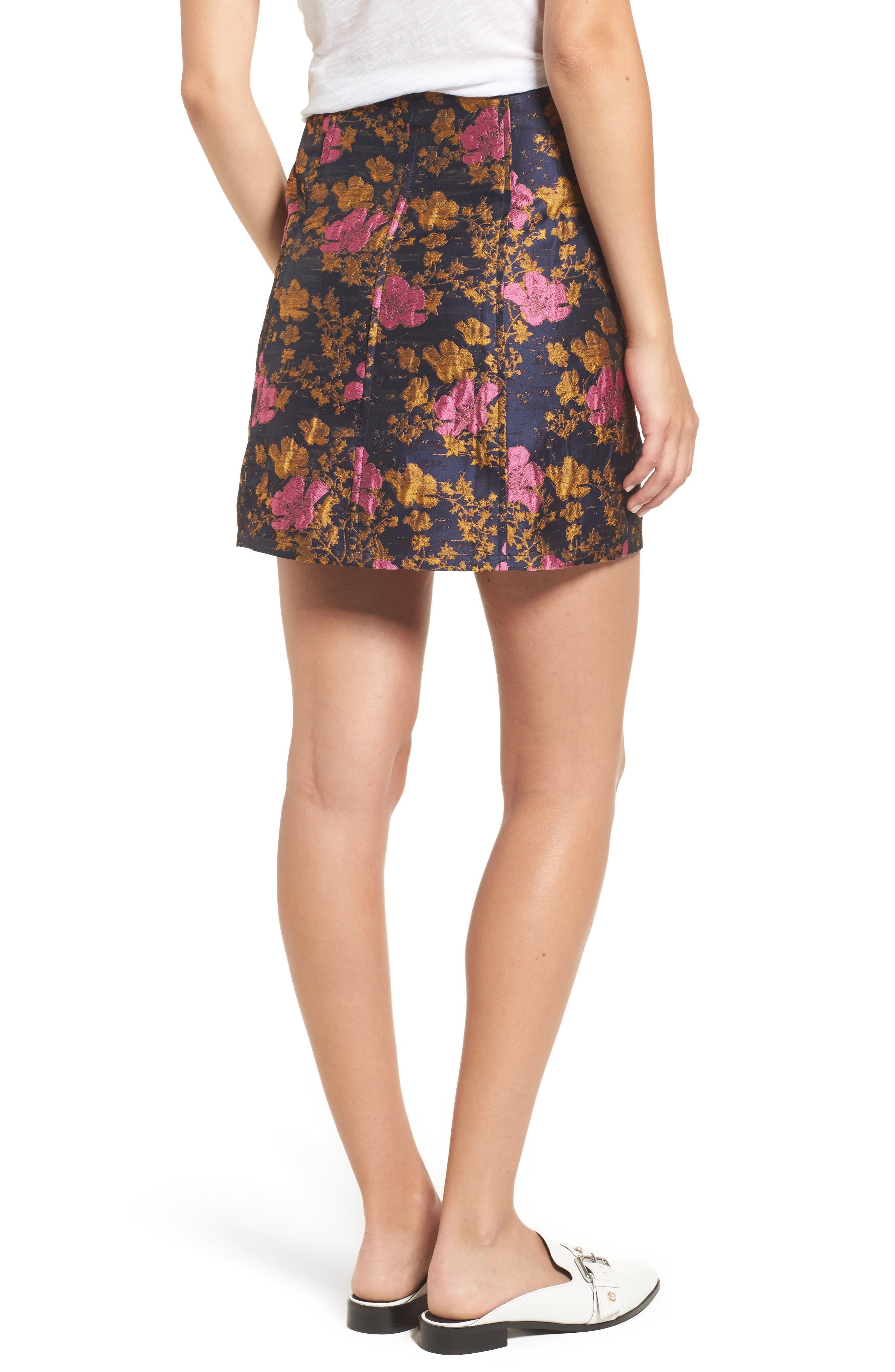 High Waist Floral Print Miniskirt,                             Alternate thumbnail 2, color,