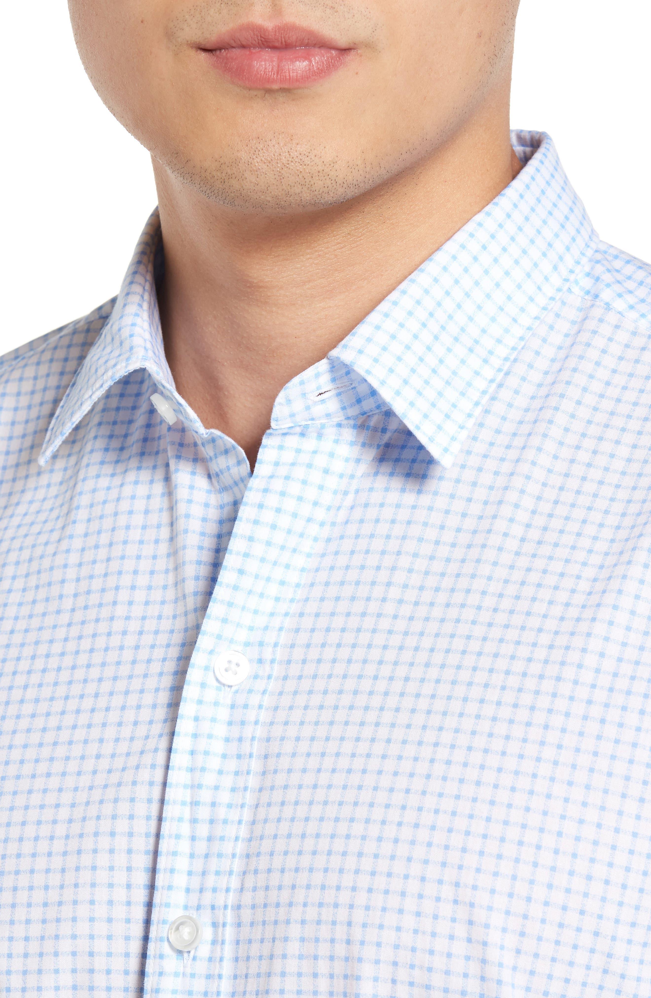 Robbie Trim Fit Check Sport Shirt,                             Alternate thumbnail 4, color,                             100