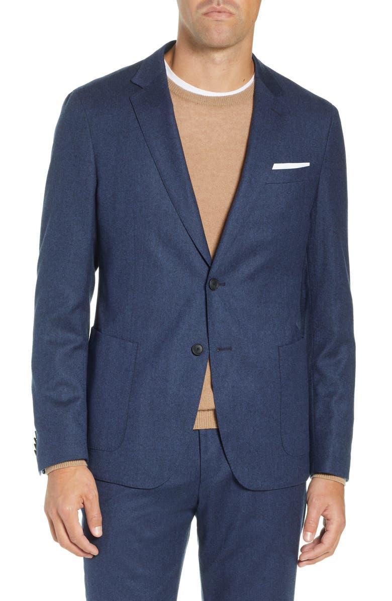85186ca9d Boss Men'S Slim-Fit Virgin Wool Flannel Blazer In Dark Blue   ModeSens