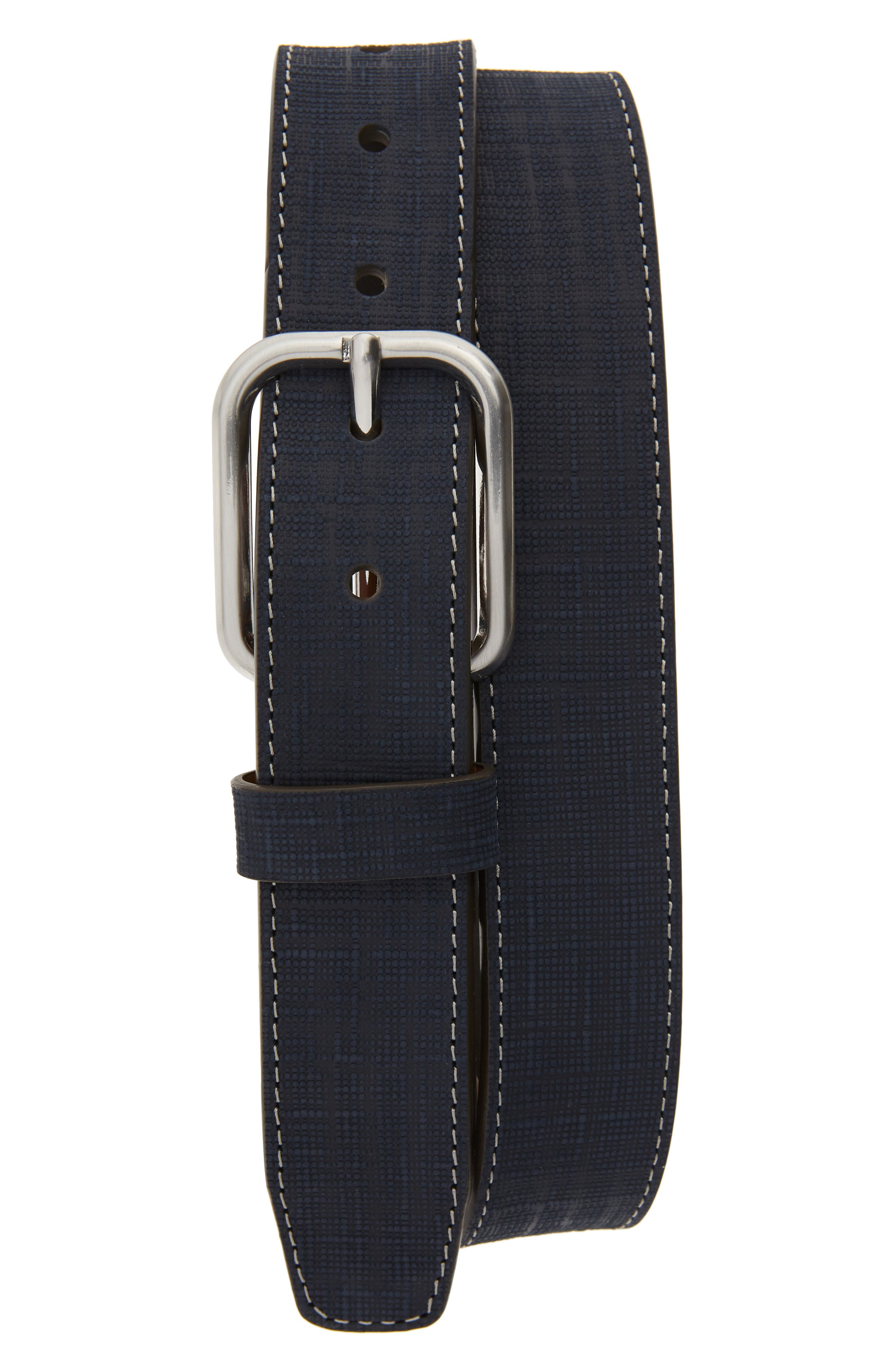 Johnston & Murphy Crosshatch Leather Belt, Navy