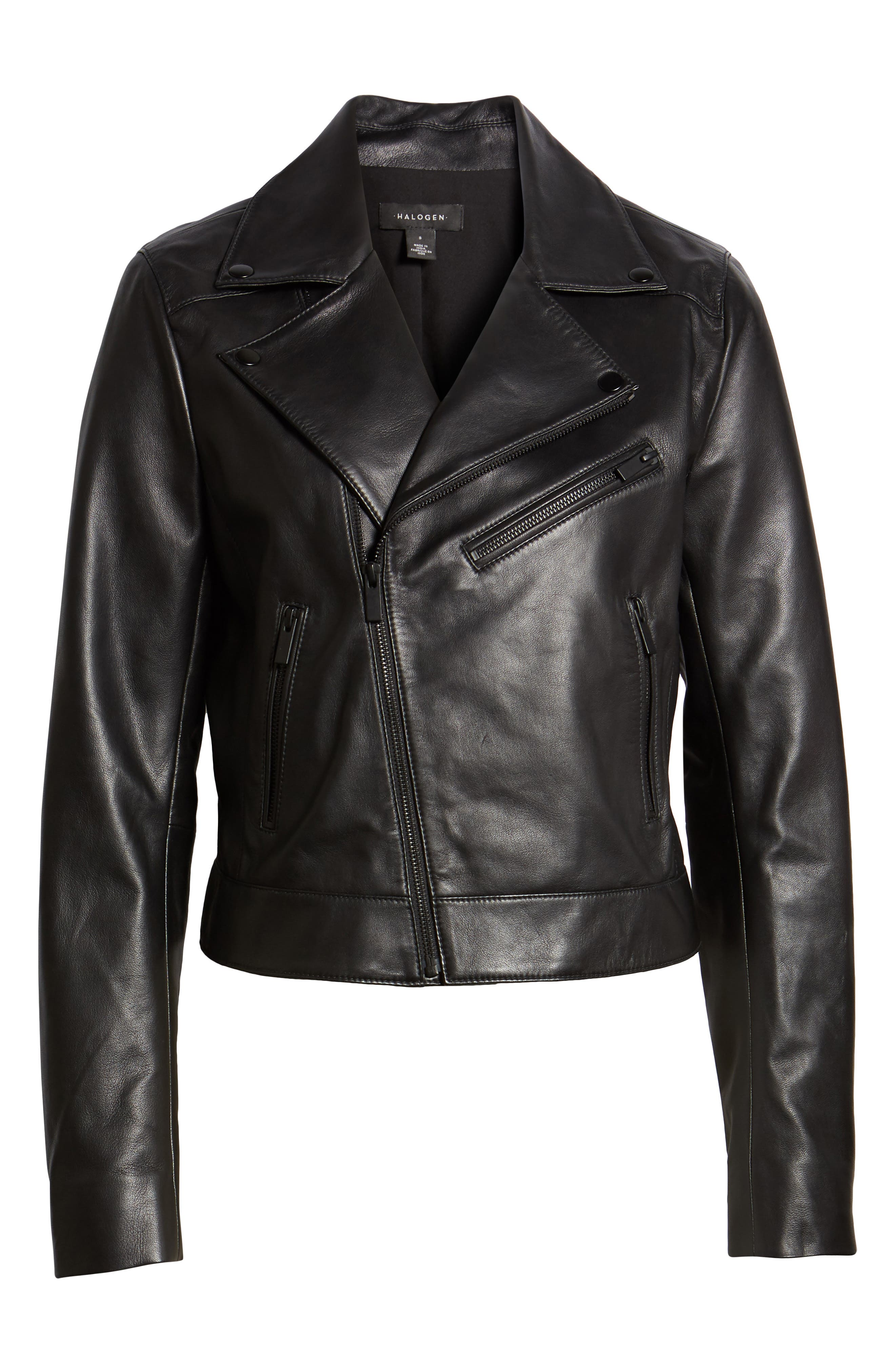 Leather Moto Jacket,                             Alternate thumbnail 6, color,                             001