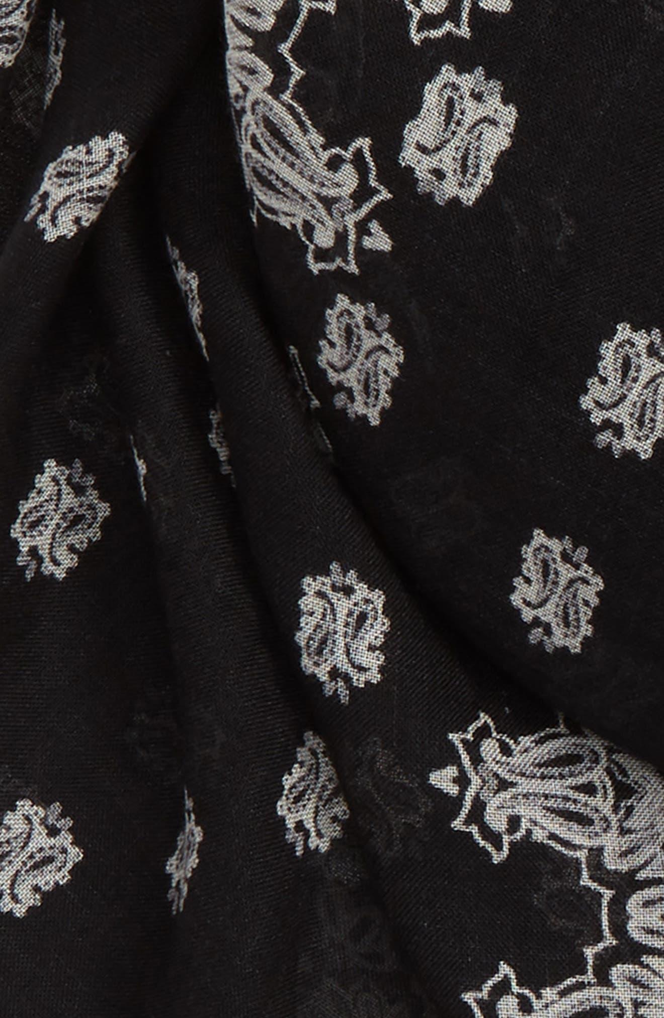 SAINT LAURENT,                             Bandana Print Cashmere & Silk Scarf,                             Alternate thumbnail 3, color,                             001