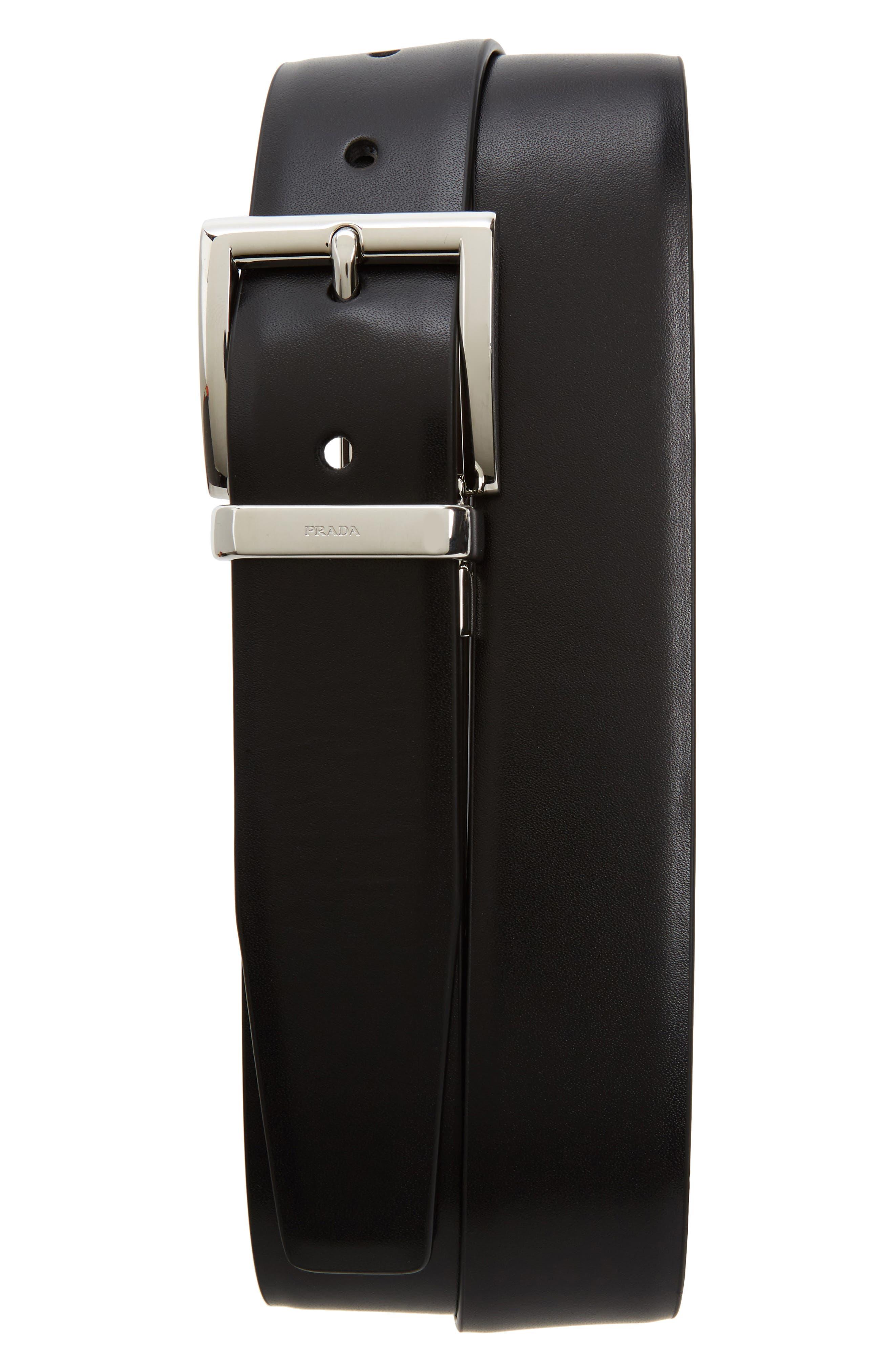 Reversible Leather Belt,                             Main thumbnail 1, color,                             BLACK