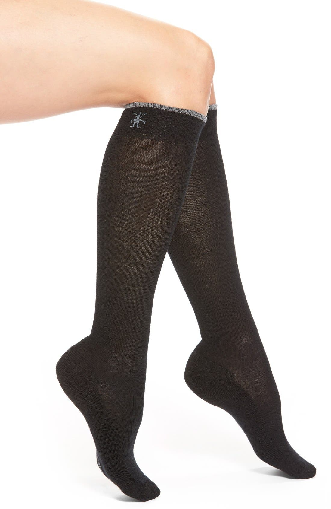 Merino Wool Blend Knee High Socks,                             Main thumbnail 1, color,                             001