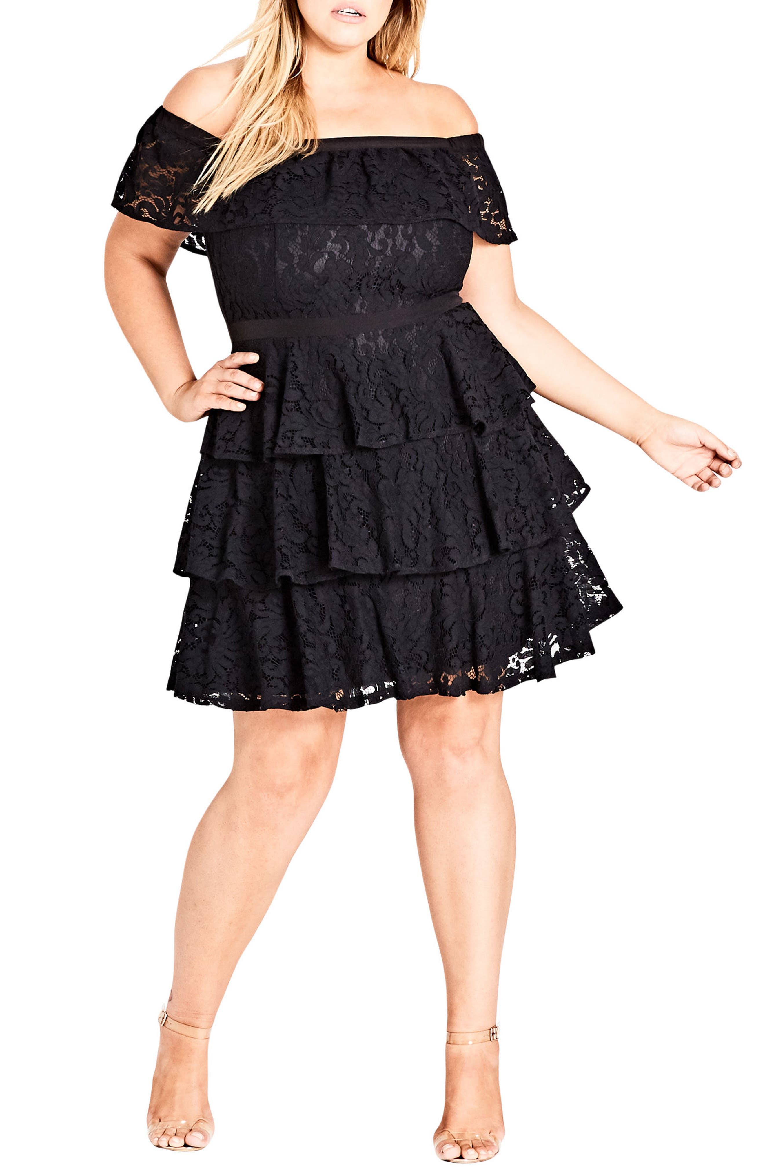 Lady Layers Ruffle Lace Off the Shoulder Dress,                             Main thumbnail 1, color,                             BLACK