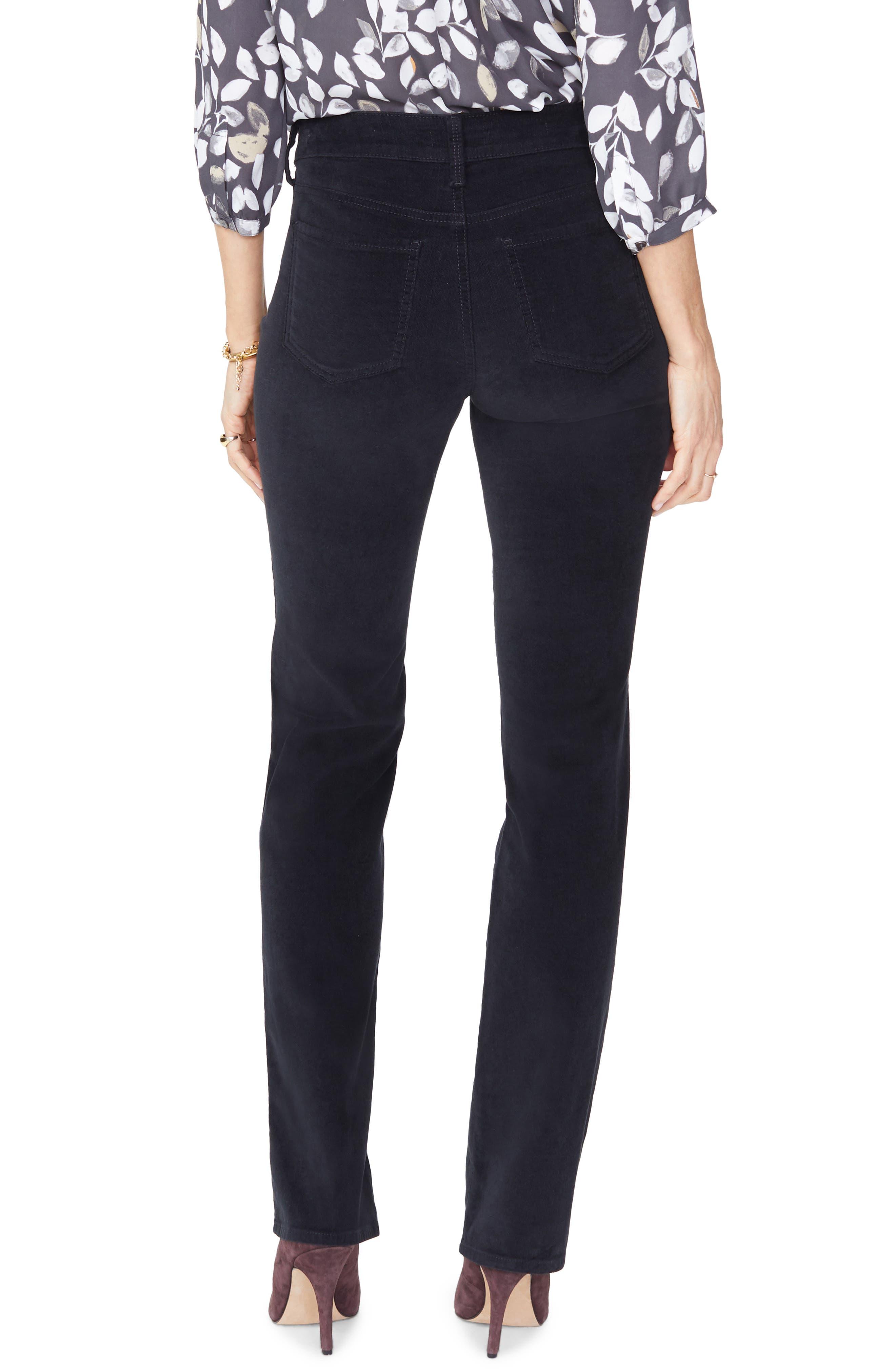 Marilyn Straight Leg Velveteen Pants,                             Alternate thumbnail 2, color,                             BLACK