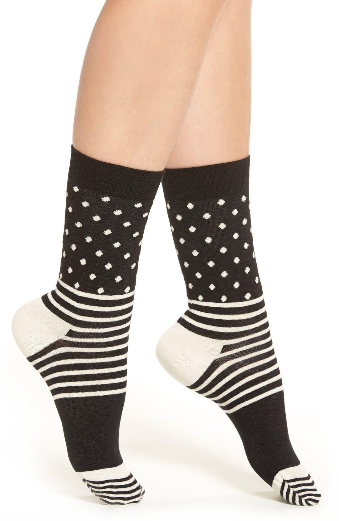 Stripes & Dots Crew Socks,                             Main thumbnail 3, color,