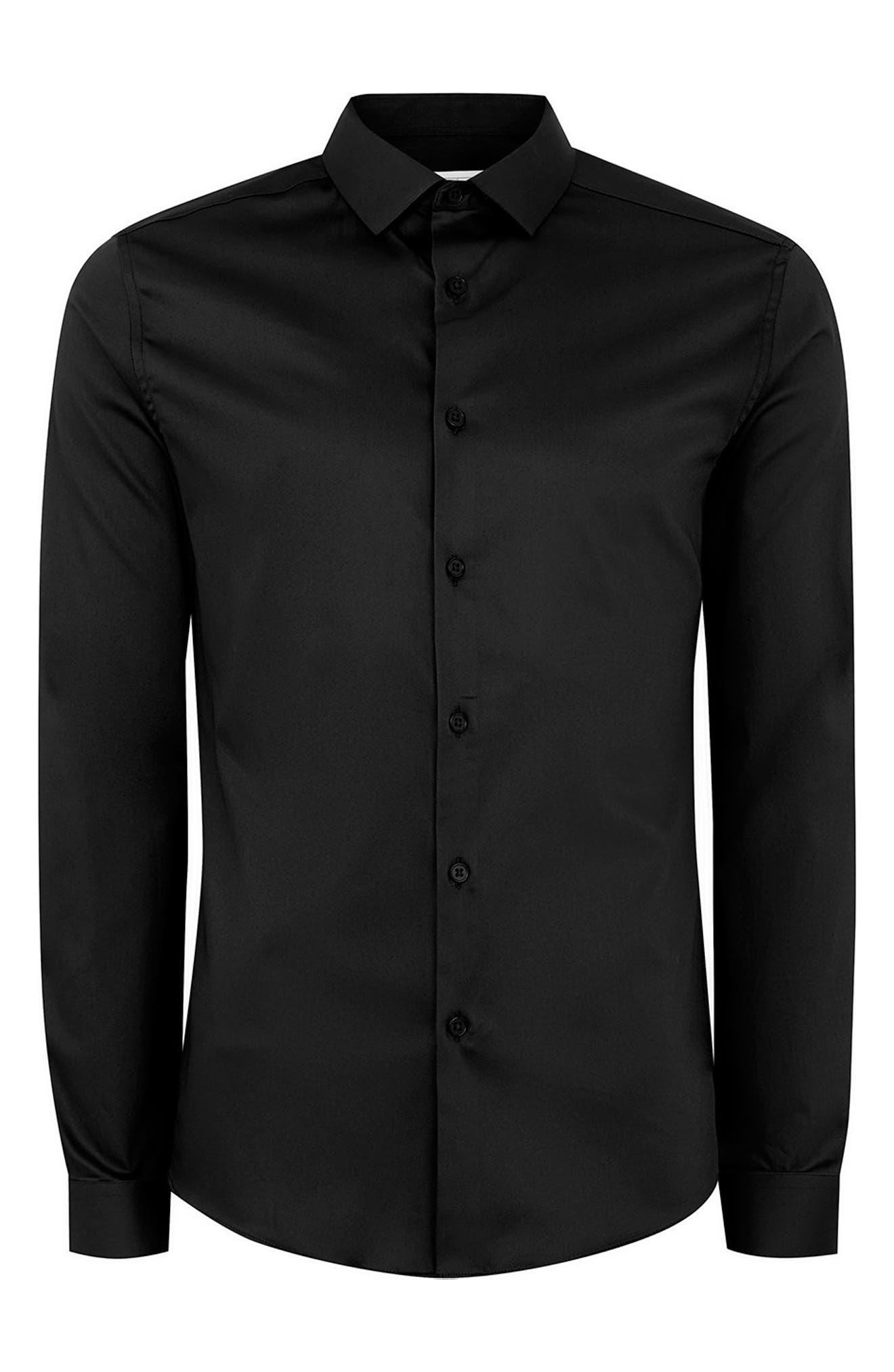 Muscle Fit Satin Shirt,                             Alternate thumbnail 4, color,                             BLACK